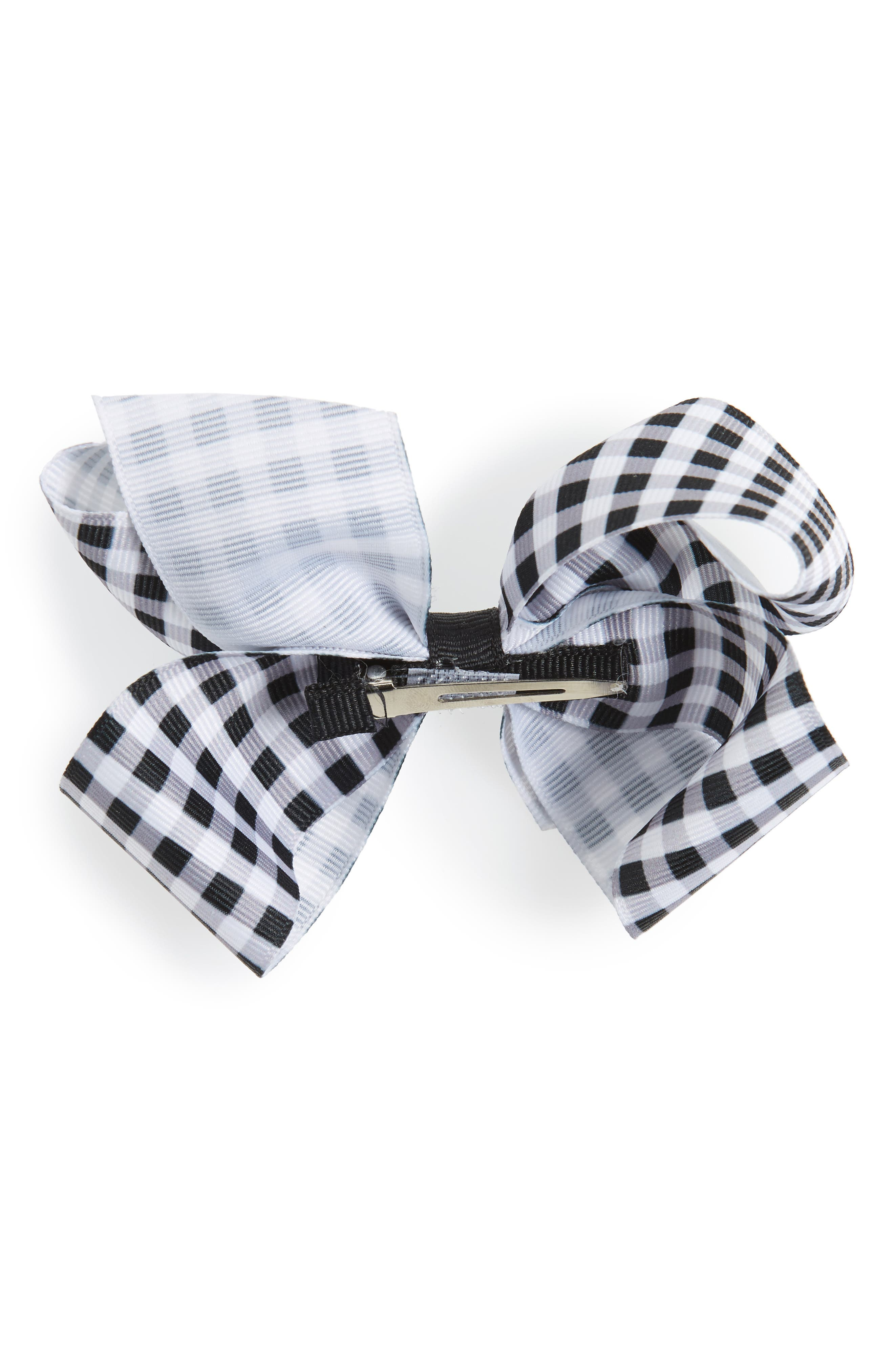 Gingham Bow Clip,                             Alternate thumbnail 2, color,                             BLACK