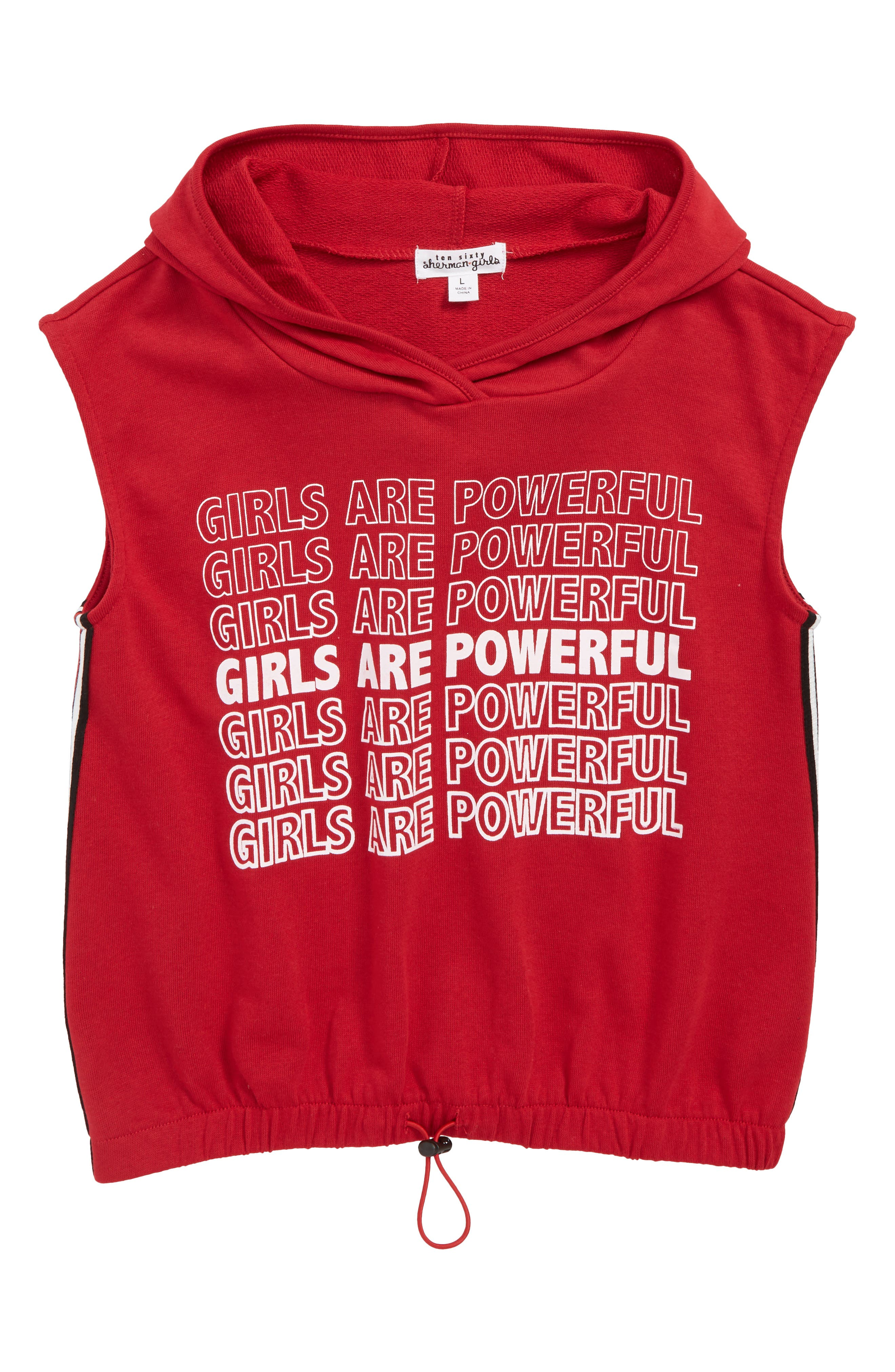 Girls Are Powerful Hoodie,                         Main,                         color, RED
