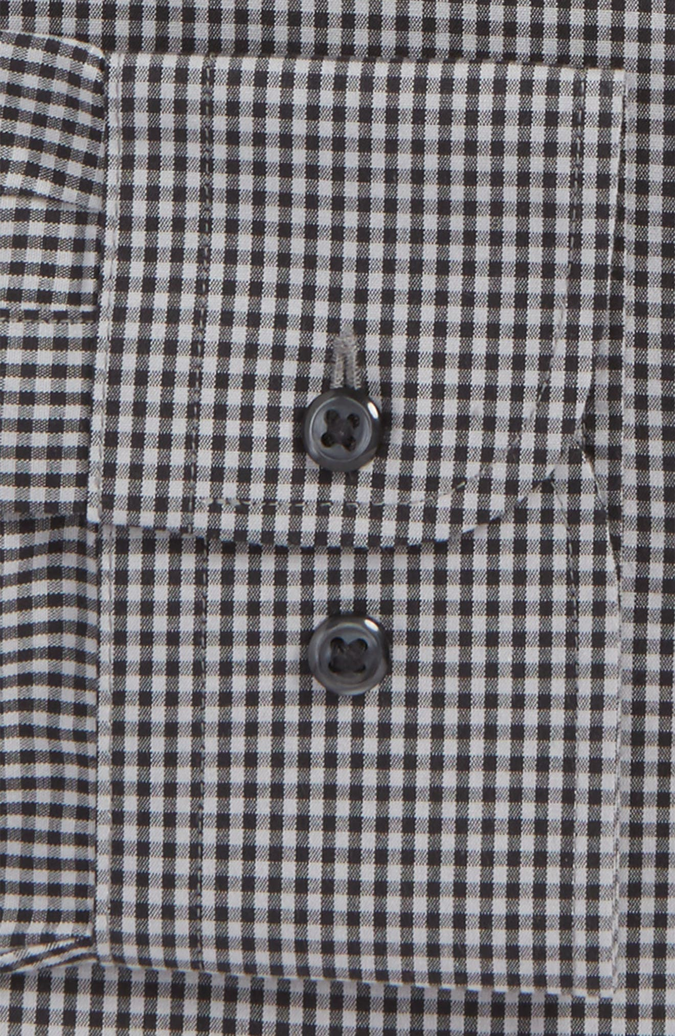 Smartcare<sup>™</sup> Trim Fit Check Dress Shirt,                             Alternate thumbnail 6, color,                             001