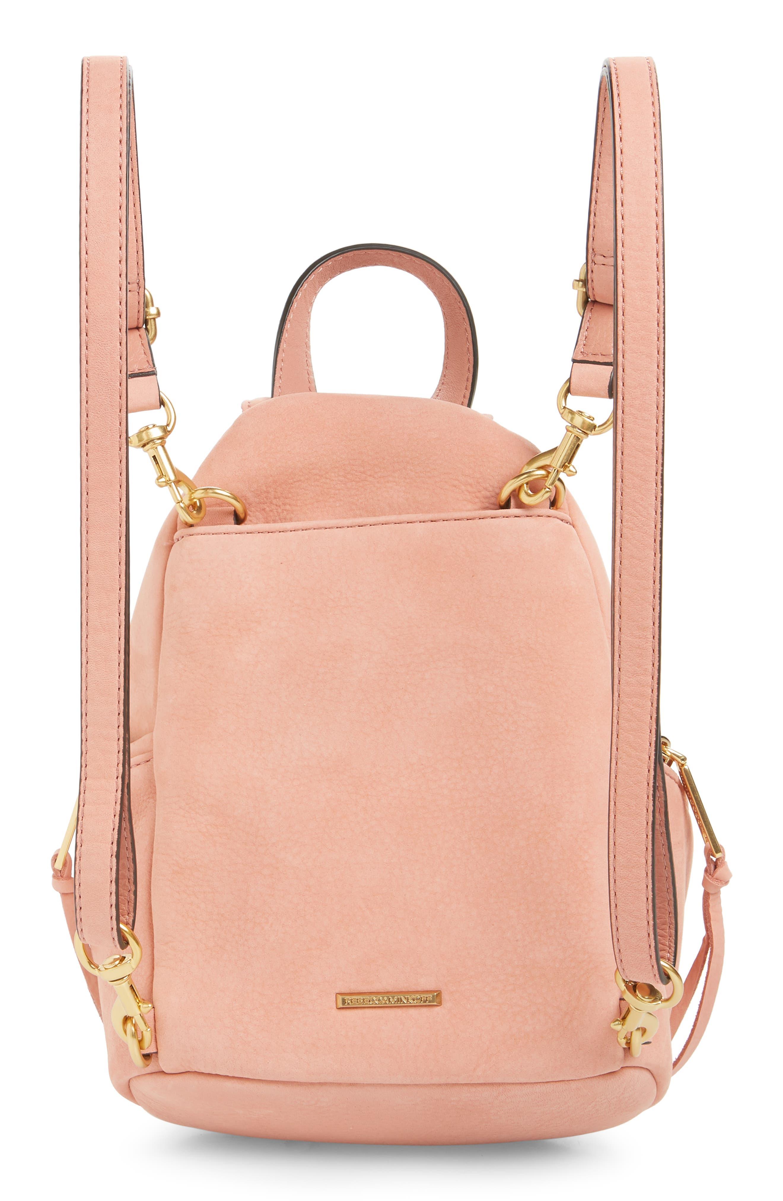 Mini Julian Nubuck Leather Convertible Backpack,                             Alternate thumbnail 3, color,                             DUSTY PEACH