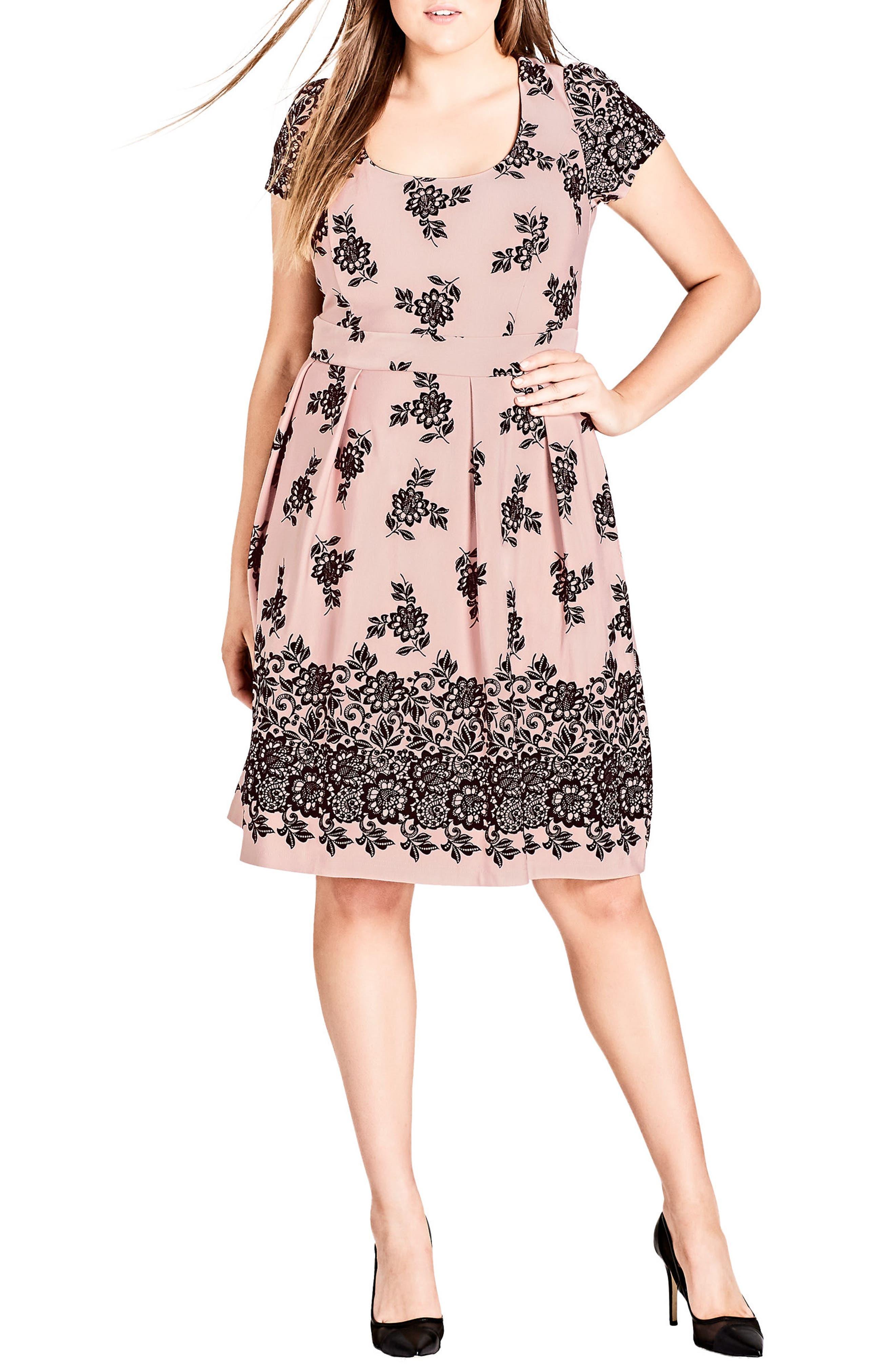 Flocked Dress,                         Main,                         color, BALLET PINK