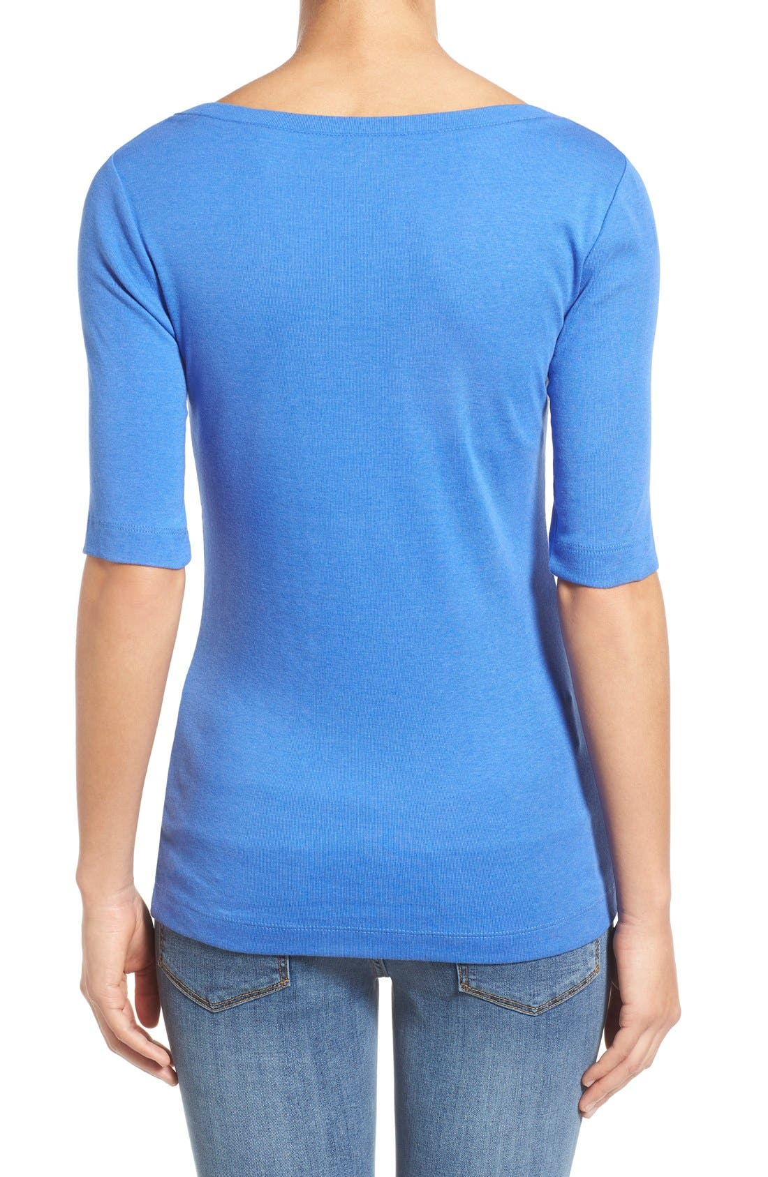 Ballet Neck Cotton & Modal Knit Elbow Sleeve Tee,                             Alternate thumbnail 188, color,