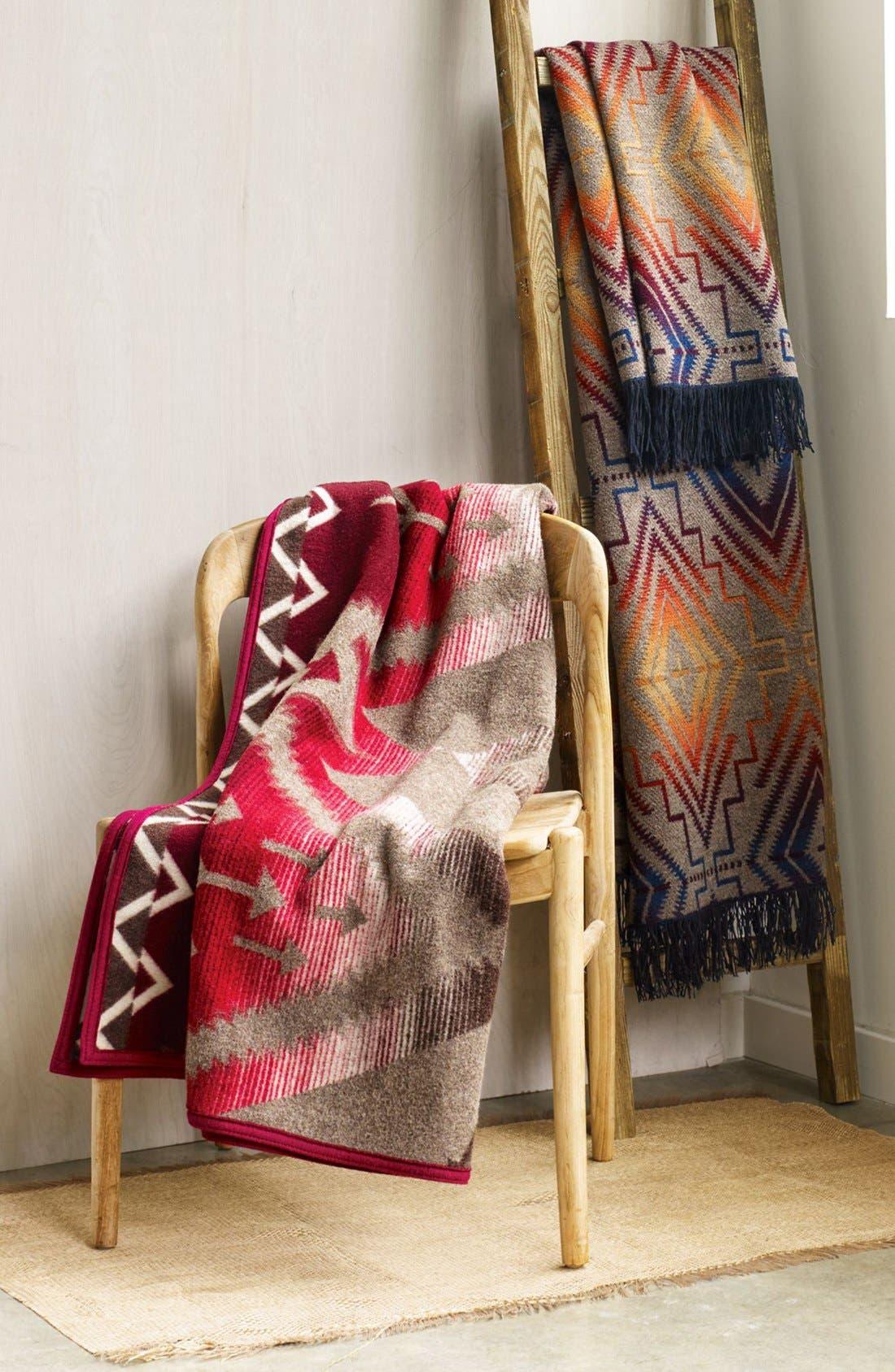 'Chimayo' Fringe Wool Throw,                             Alternate thumbnail 4, color,                             TURQUOISE