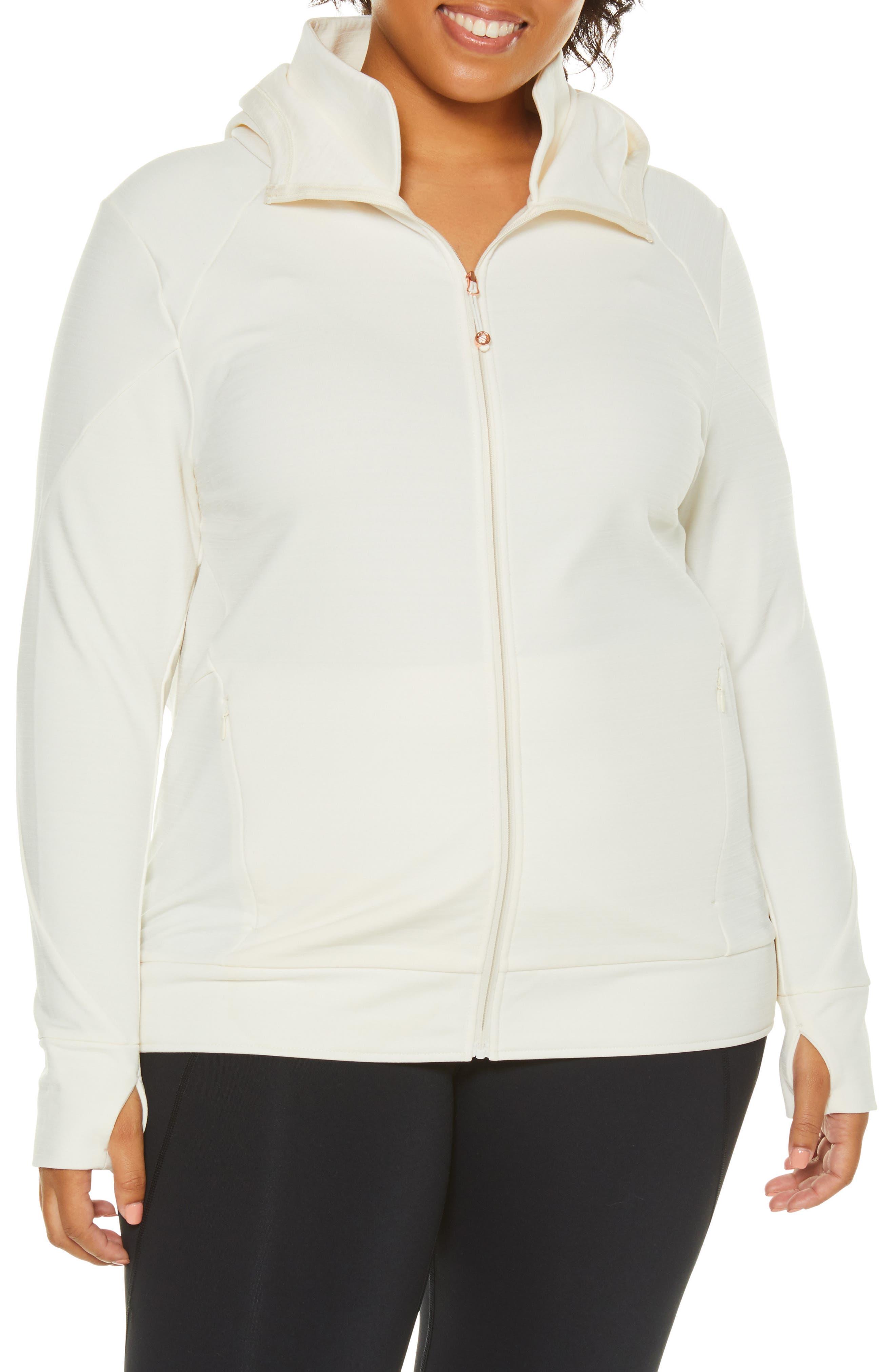Plus Size Shape Activewear Elements Hoodie, White