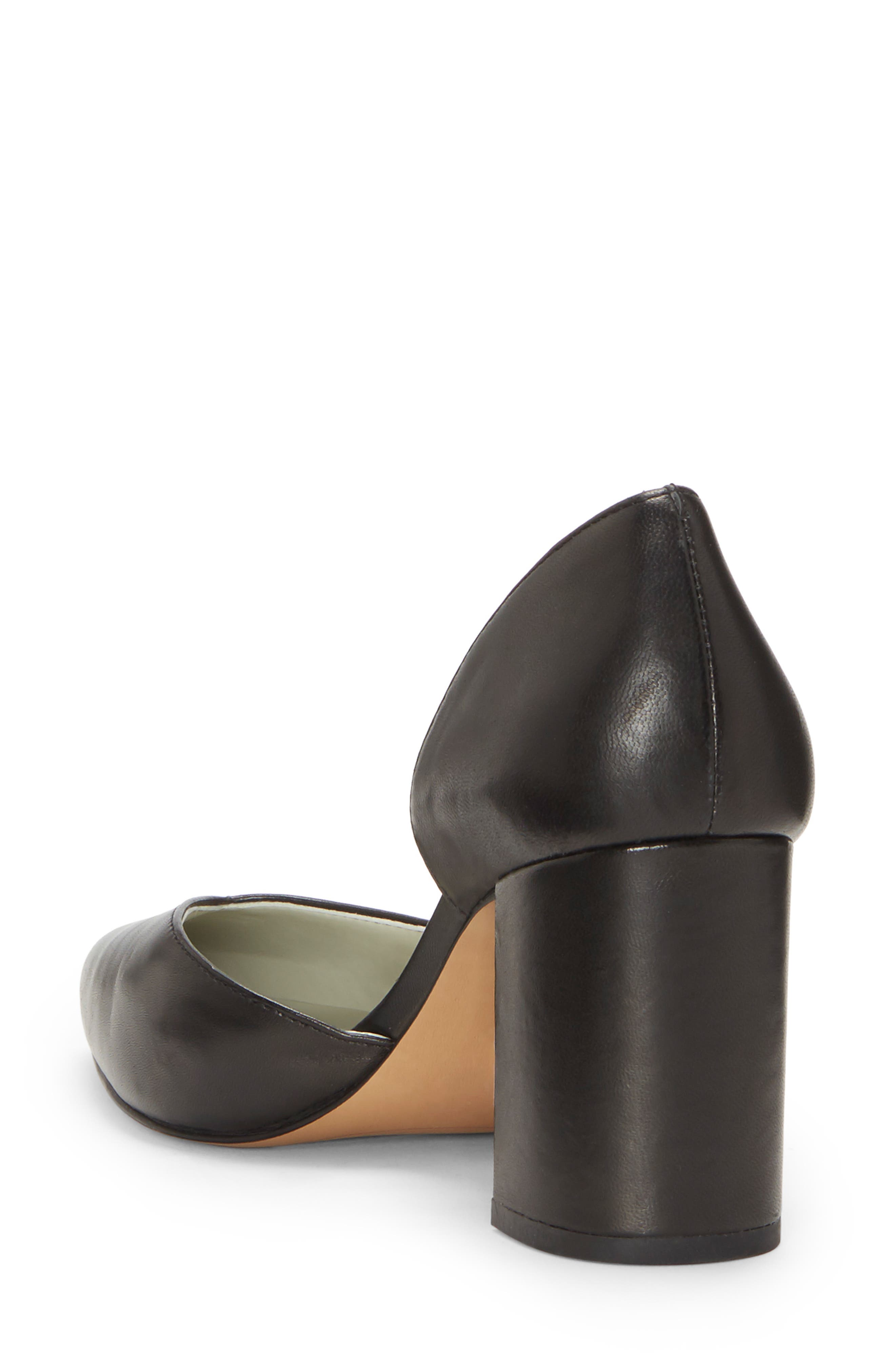 Sisteen Half d'Orsay Pump,                             Alternate thumbnail 2, color,                             BLACK LEATHER