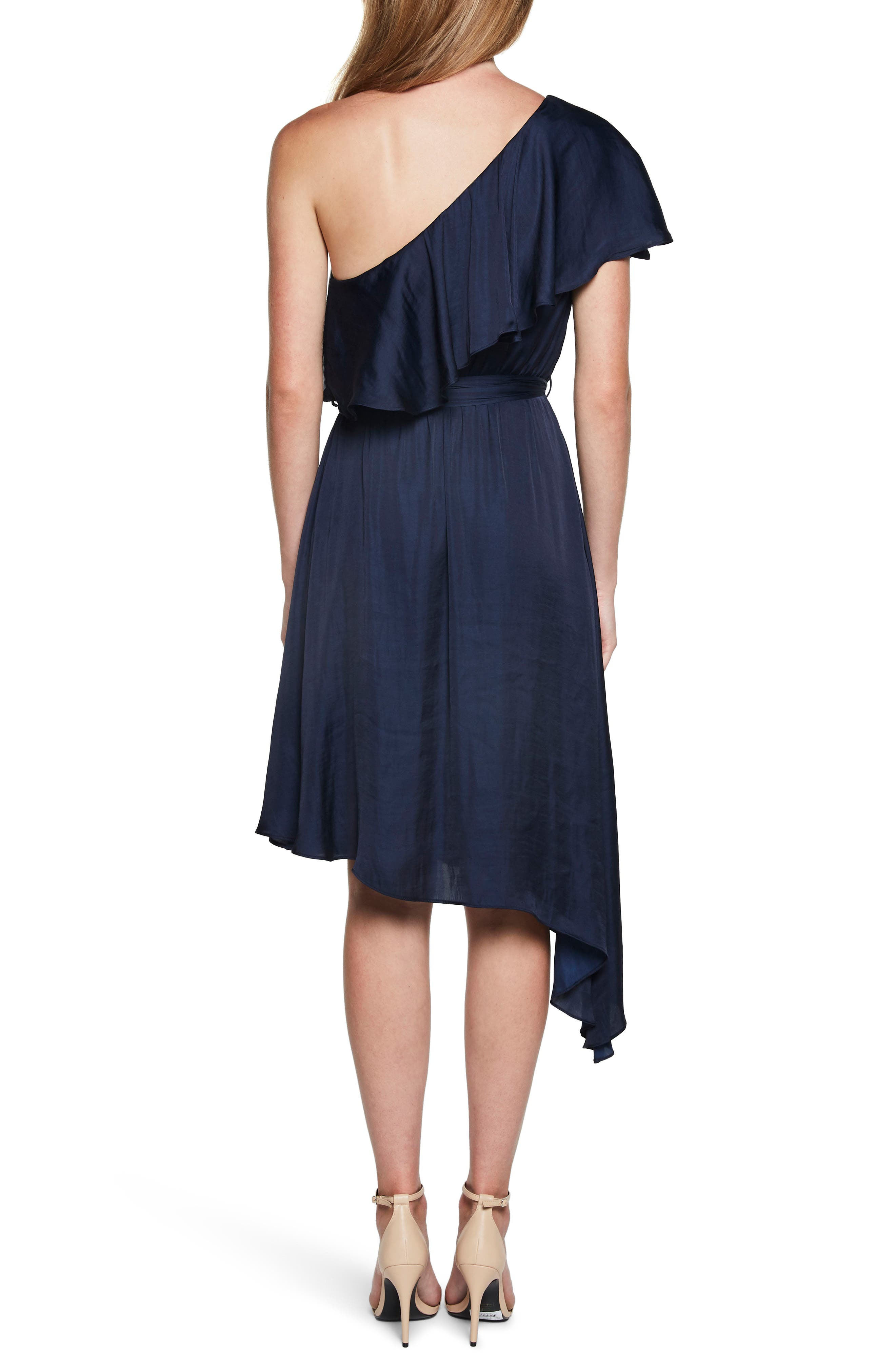 Waterfall One-Shoulder Dress,                             Alternate thumbnail 2, color,                             410