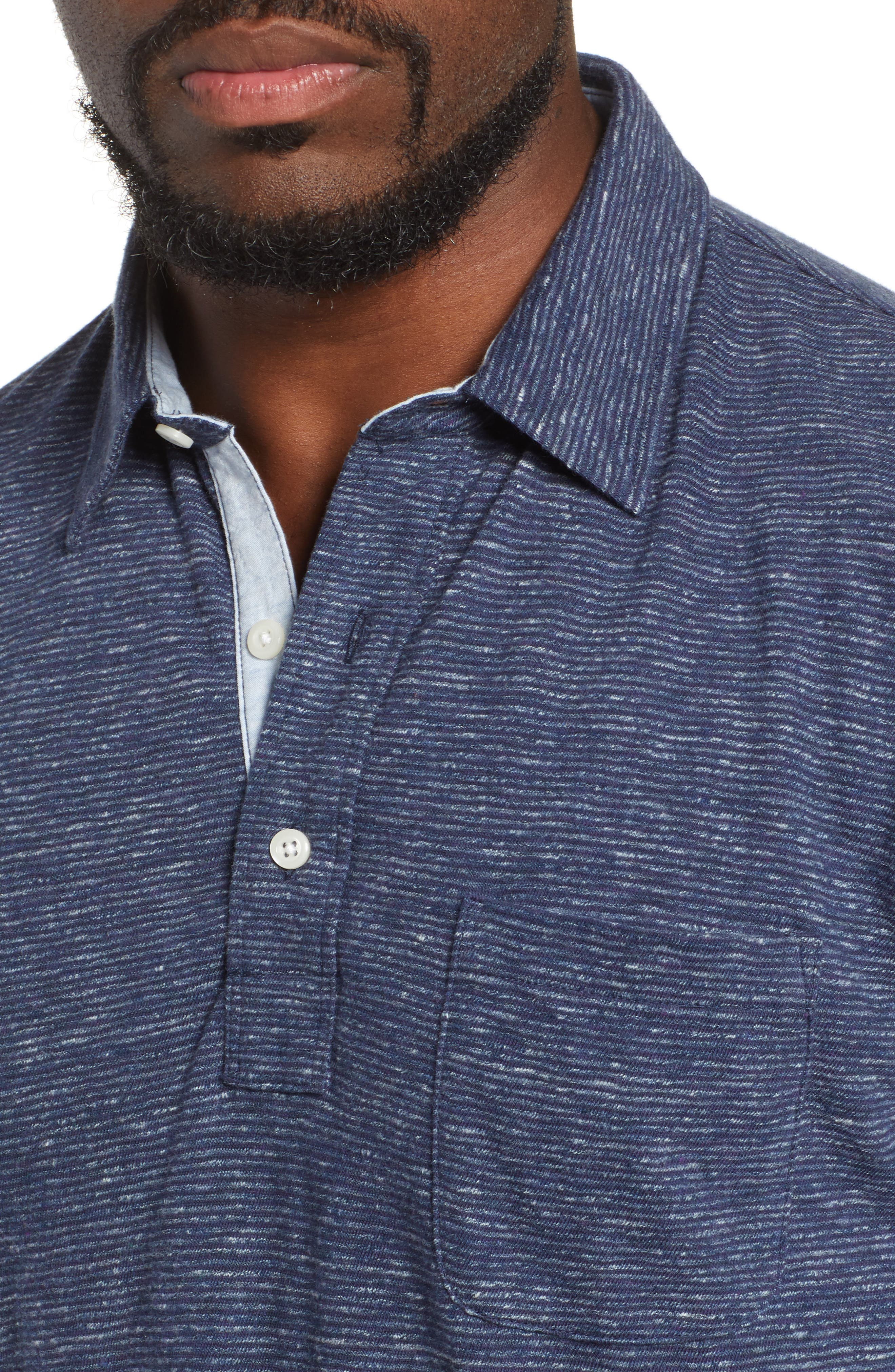 Luxe Heather Long Sleeve Polo,                             Alternate thumbnail 4, color,                             NAVY STRIPE