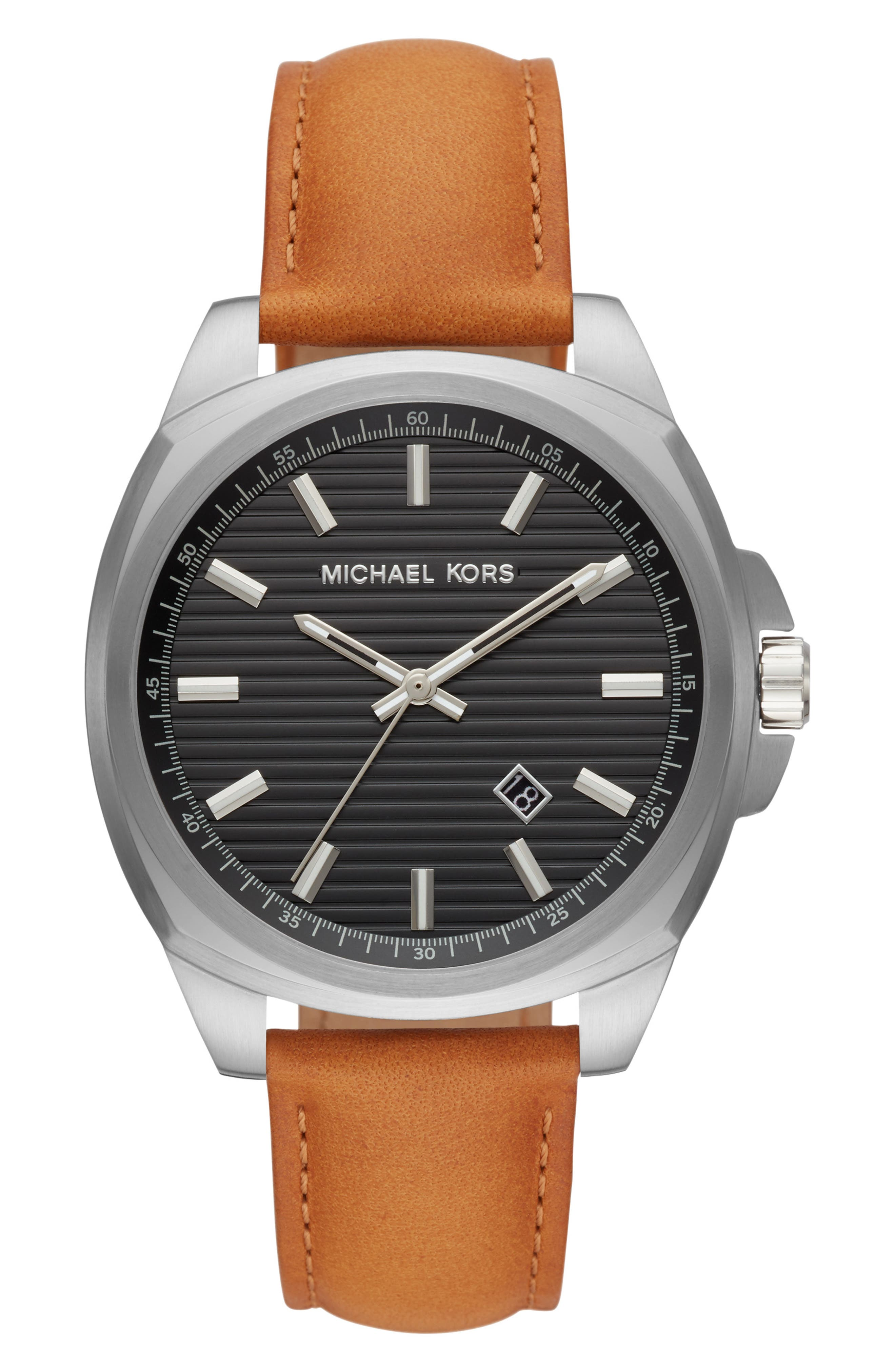 Bryson Leather Strap Watch, 42Mm in Brown/ Black Sunray/ Silver