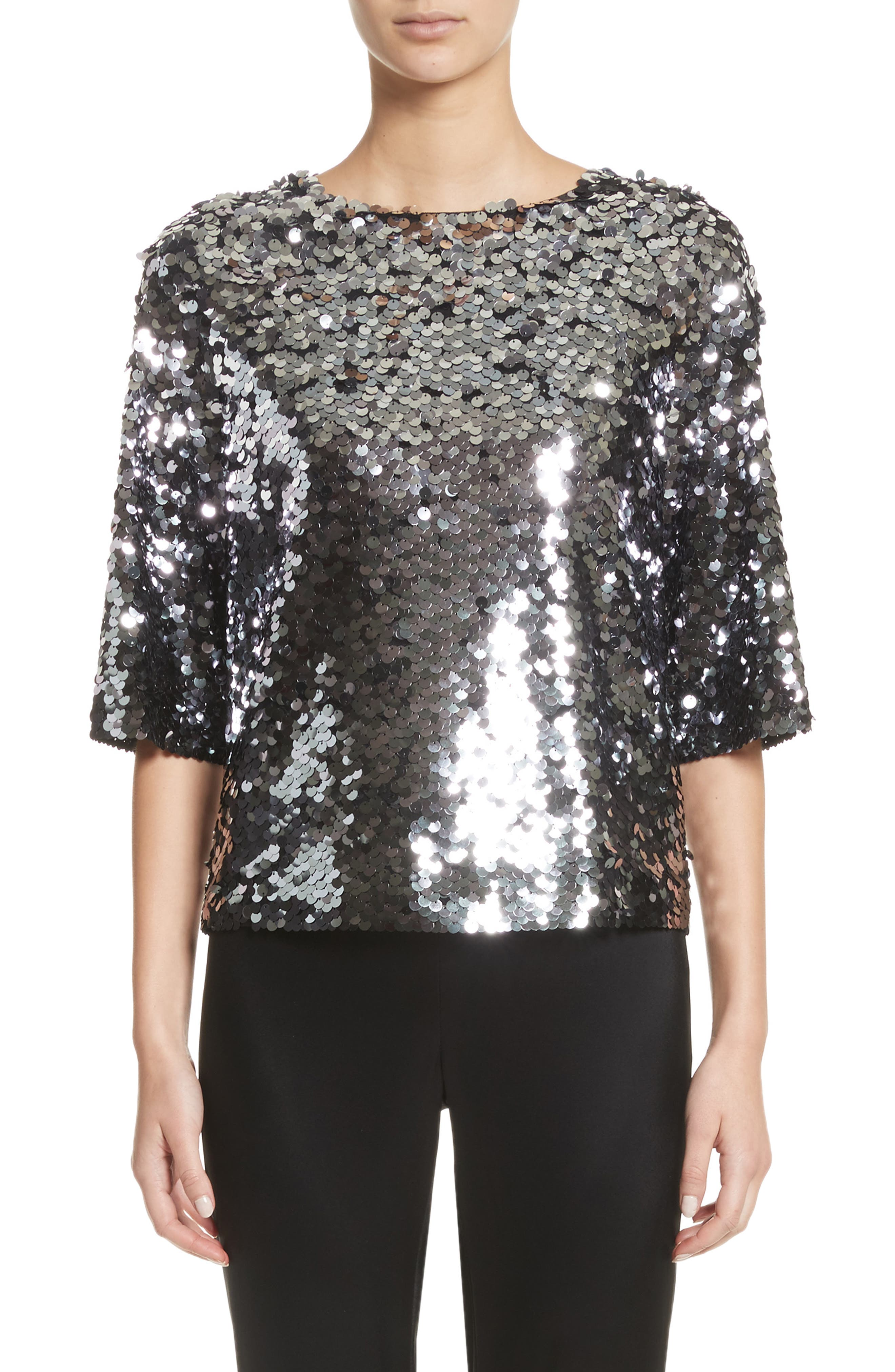 Sequin Tulle Top,                             Main thumbnail 1, color,