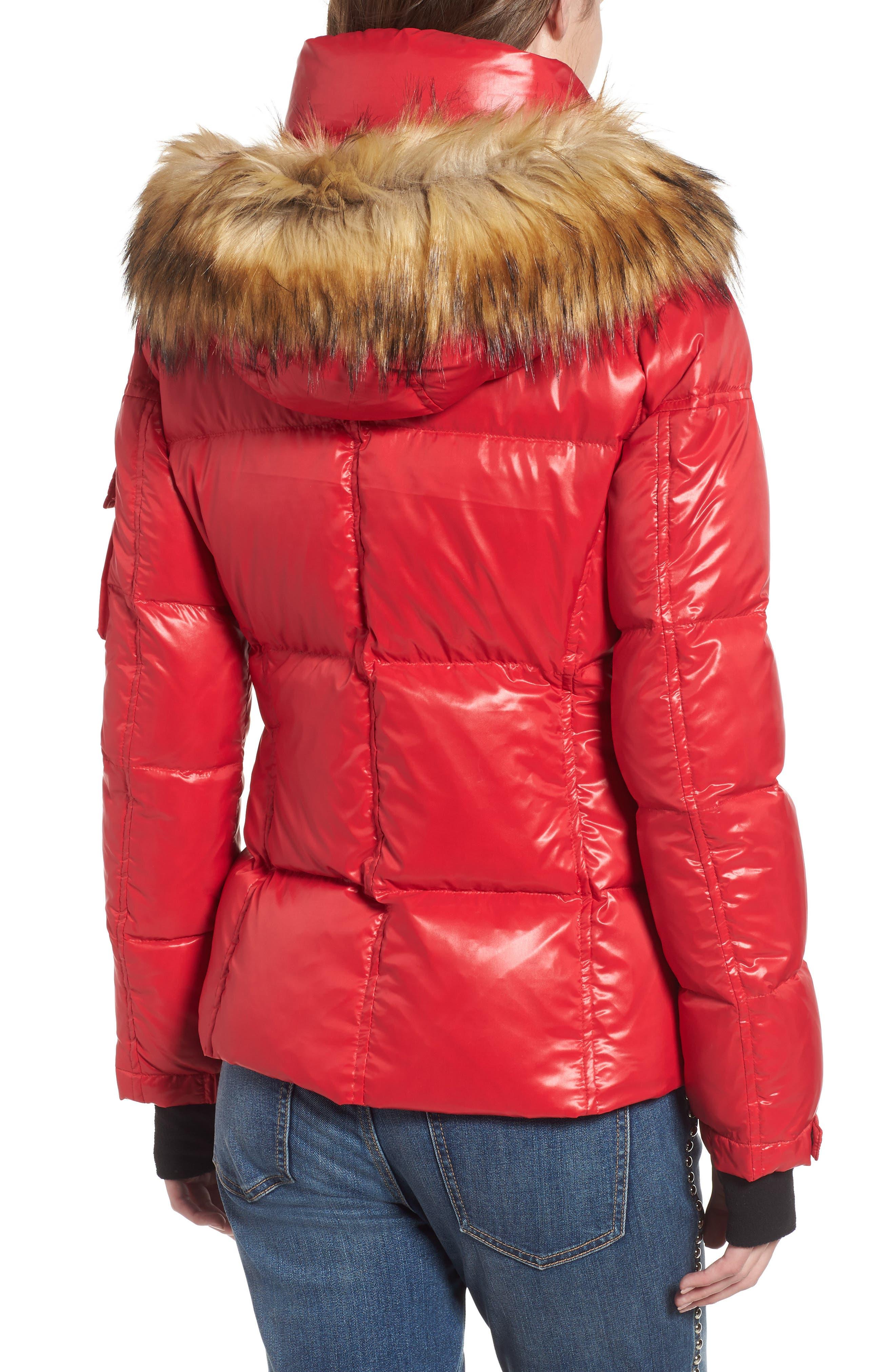 Kylie Faux Fur Trim Gloss Puffer Jacket,                             Alternate thumbnail 10, color,