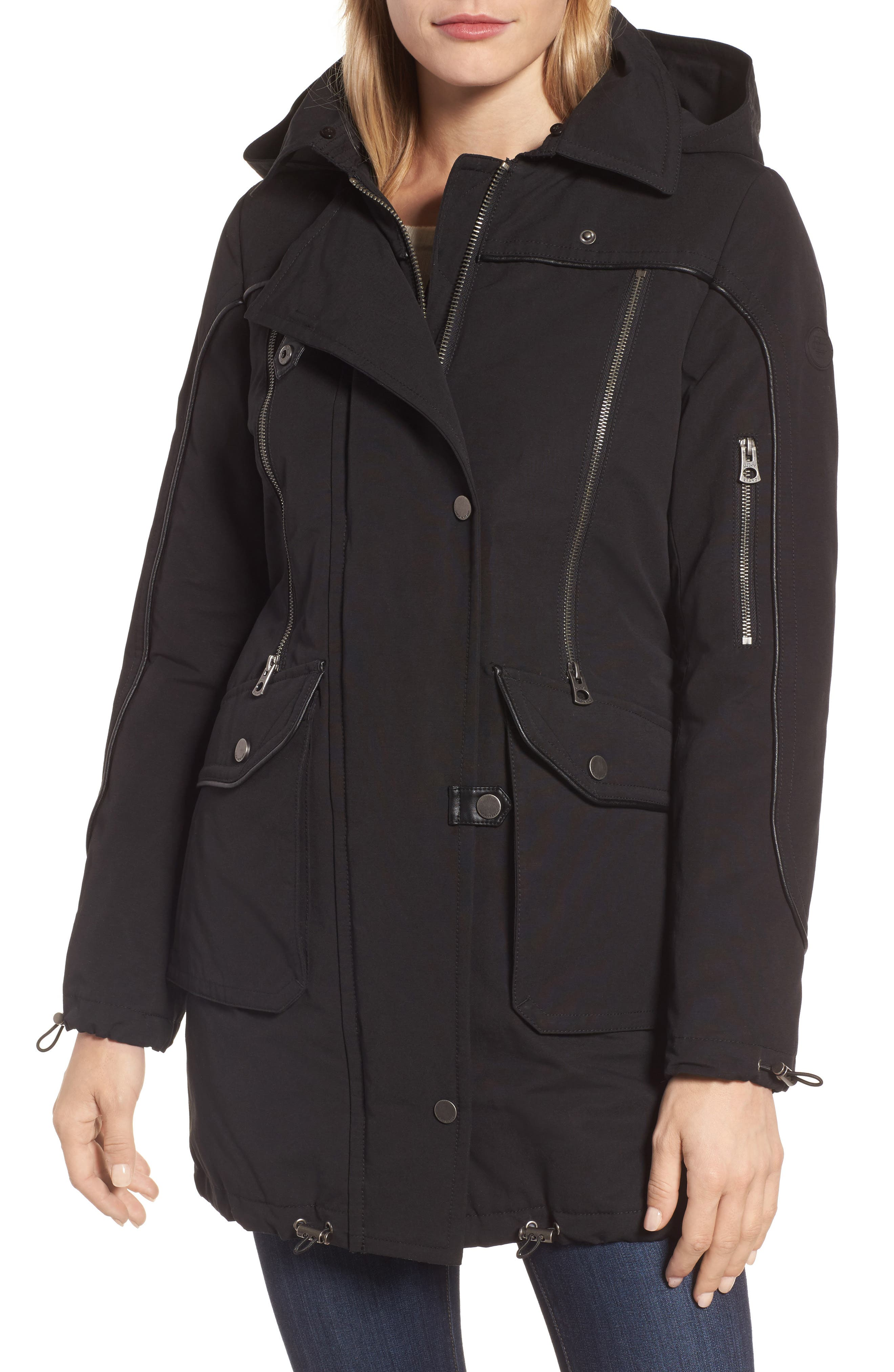 Zip Detail Parka with Faux Fur,                             Alternate thumbnail 4, color,                             001