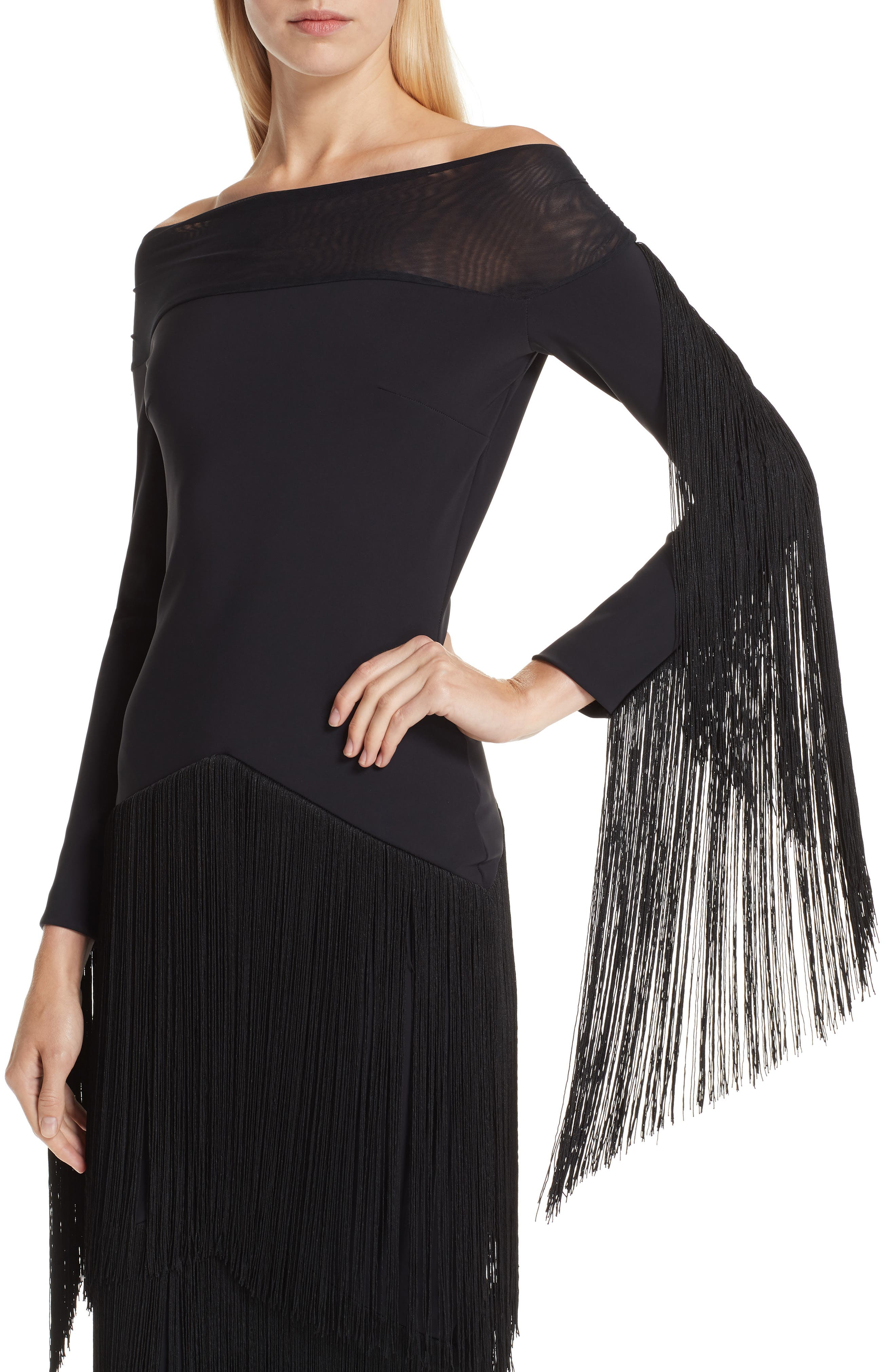Hadel Fringe Trim Gown,                             Alternate thumbnail 4, color,                             BLACK