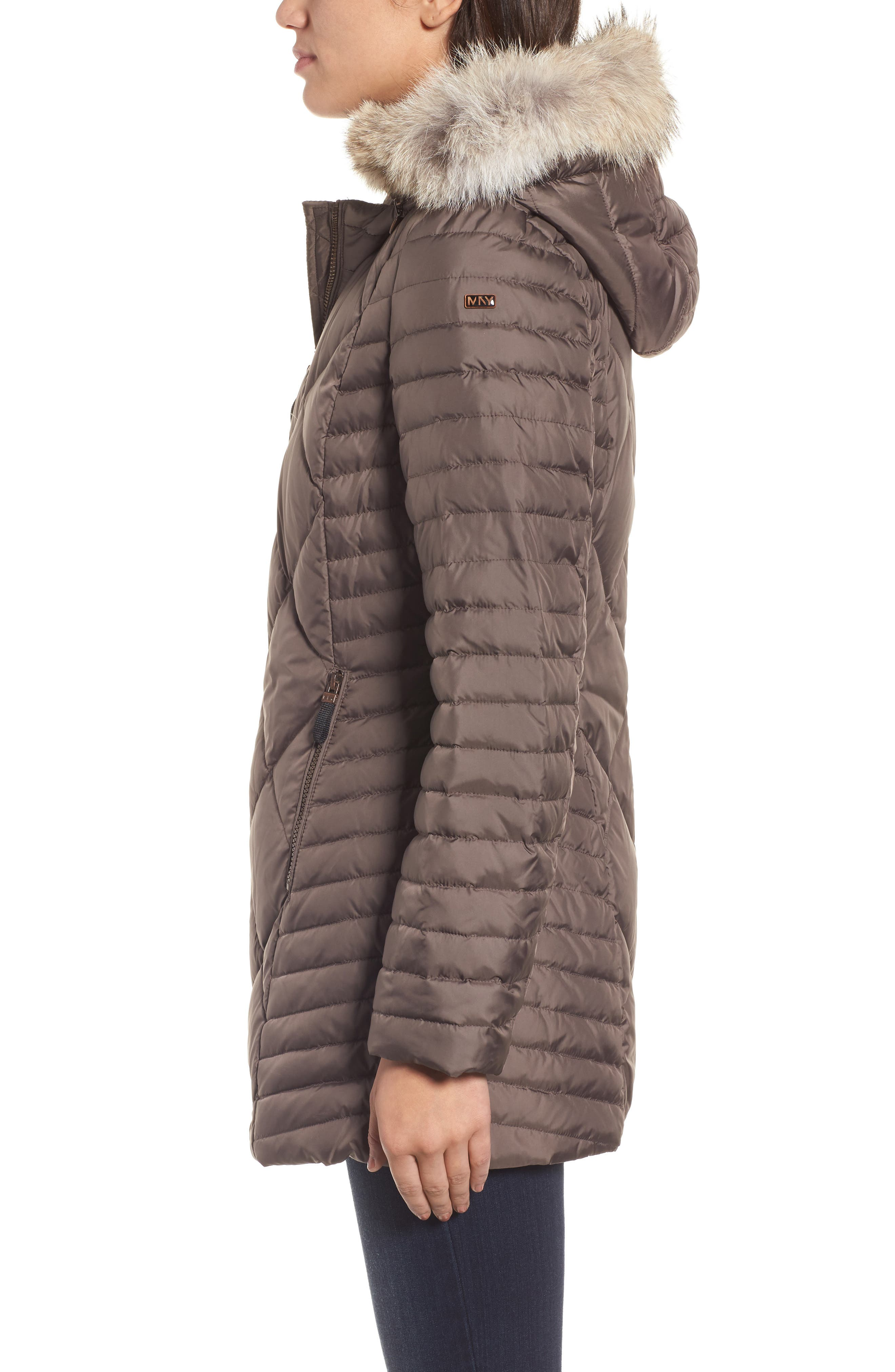 Hooded Coat with Genuine Coyote Fur Trim,                             Alternate thumbnail 3, color,                             072