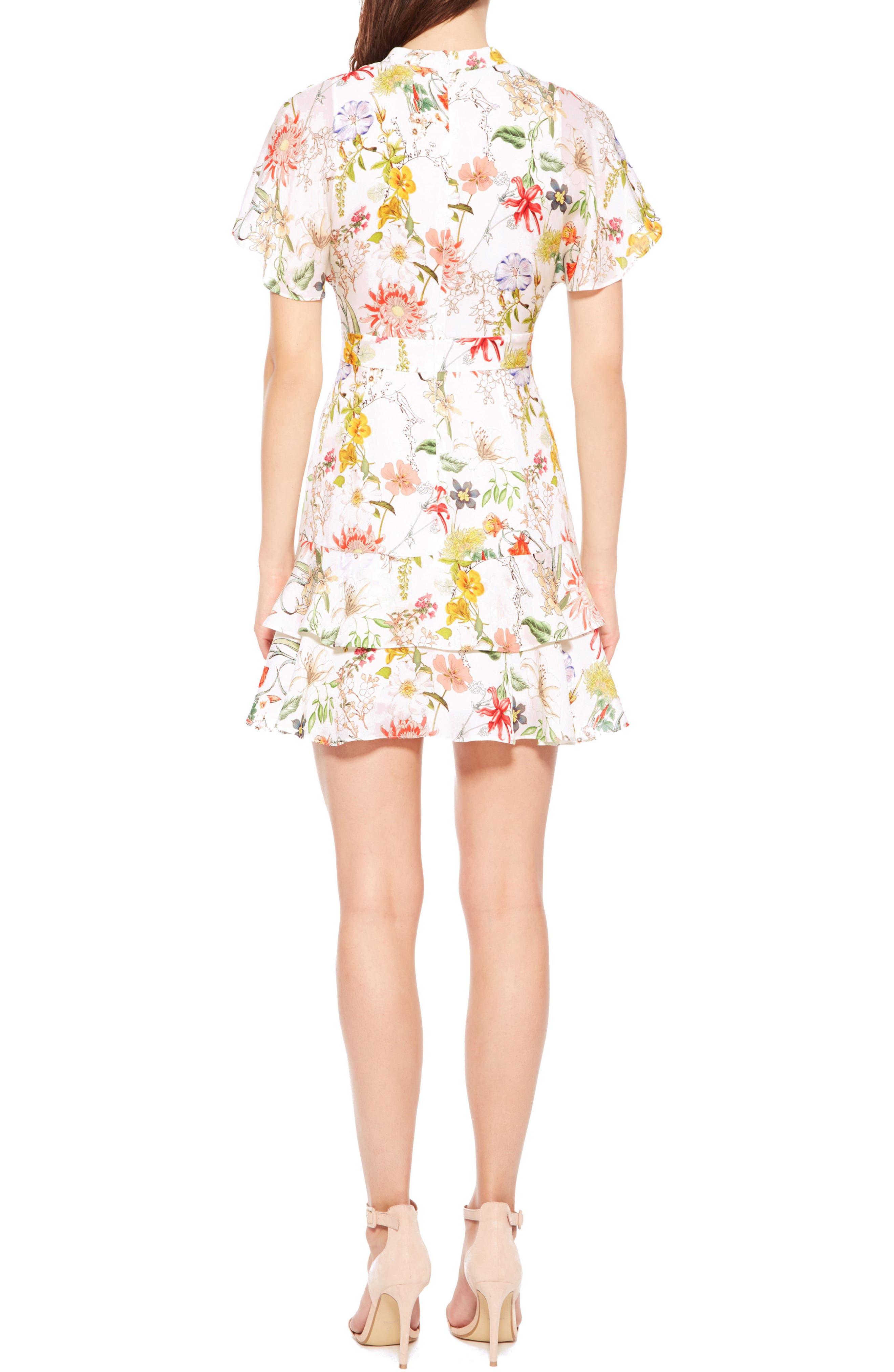 Natalie Floral Silk Dress,                             Alternate thumbnail 2, color,                             908
