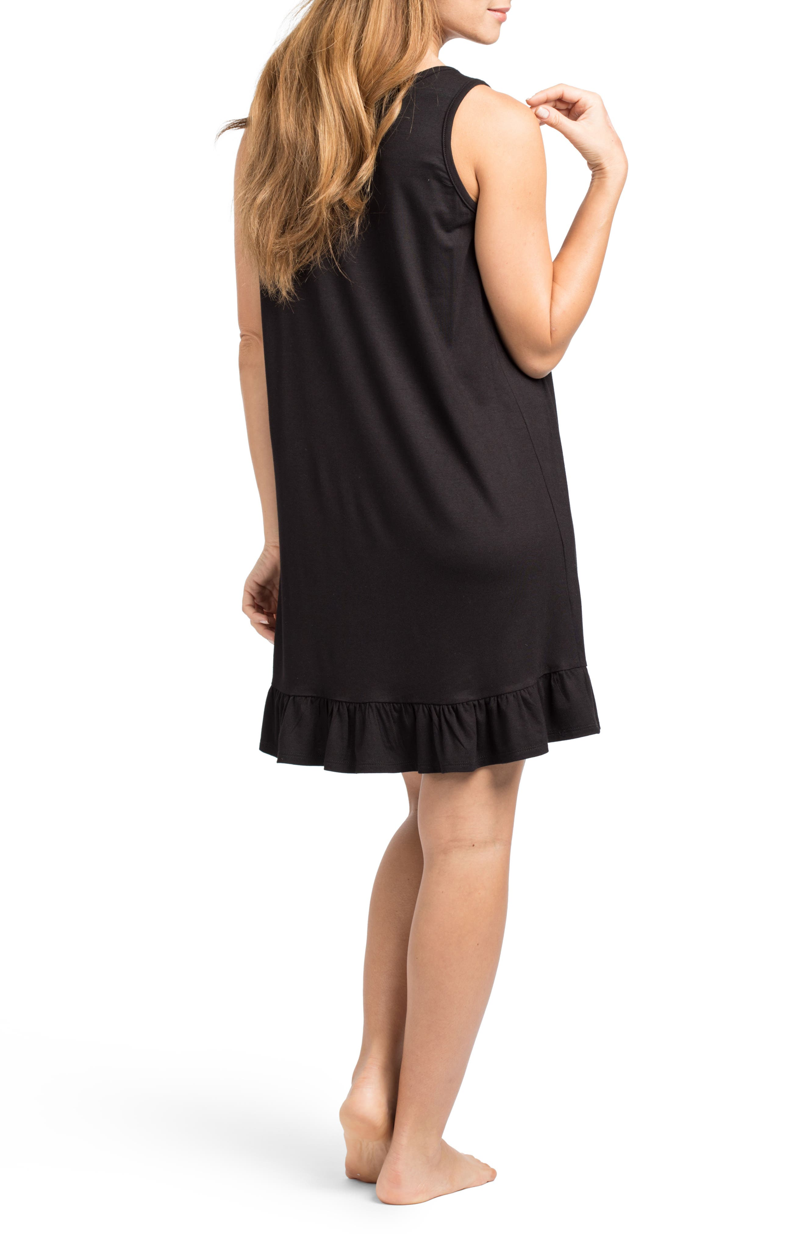 'The Ruffled' Sleeveless Maternity/Nursing Nightgown,                             Alternate thumbnail 3, color,                             BLACK