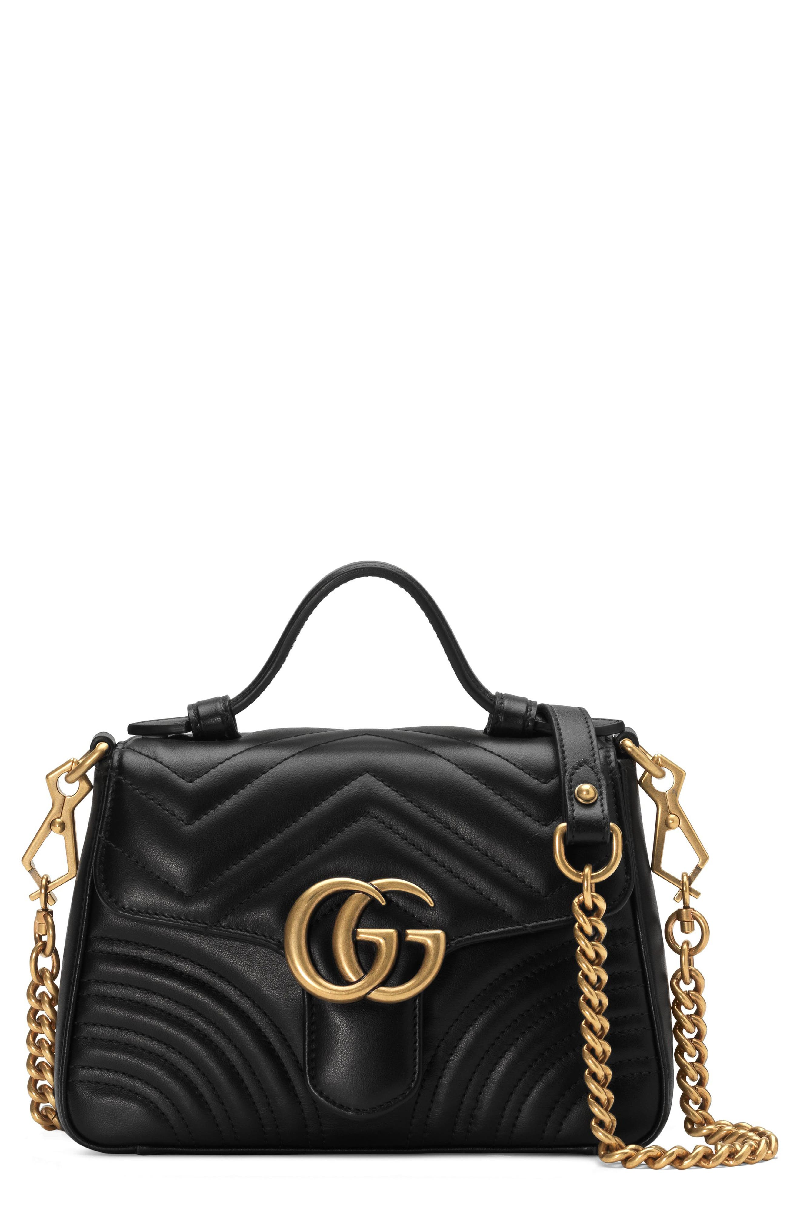 Marmont 2.0 Leather Top Handle Bag,                             Main thumbnail 1, color,                             NERO