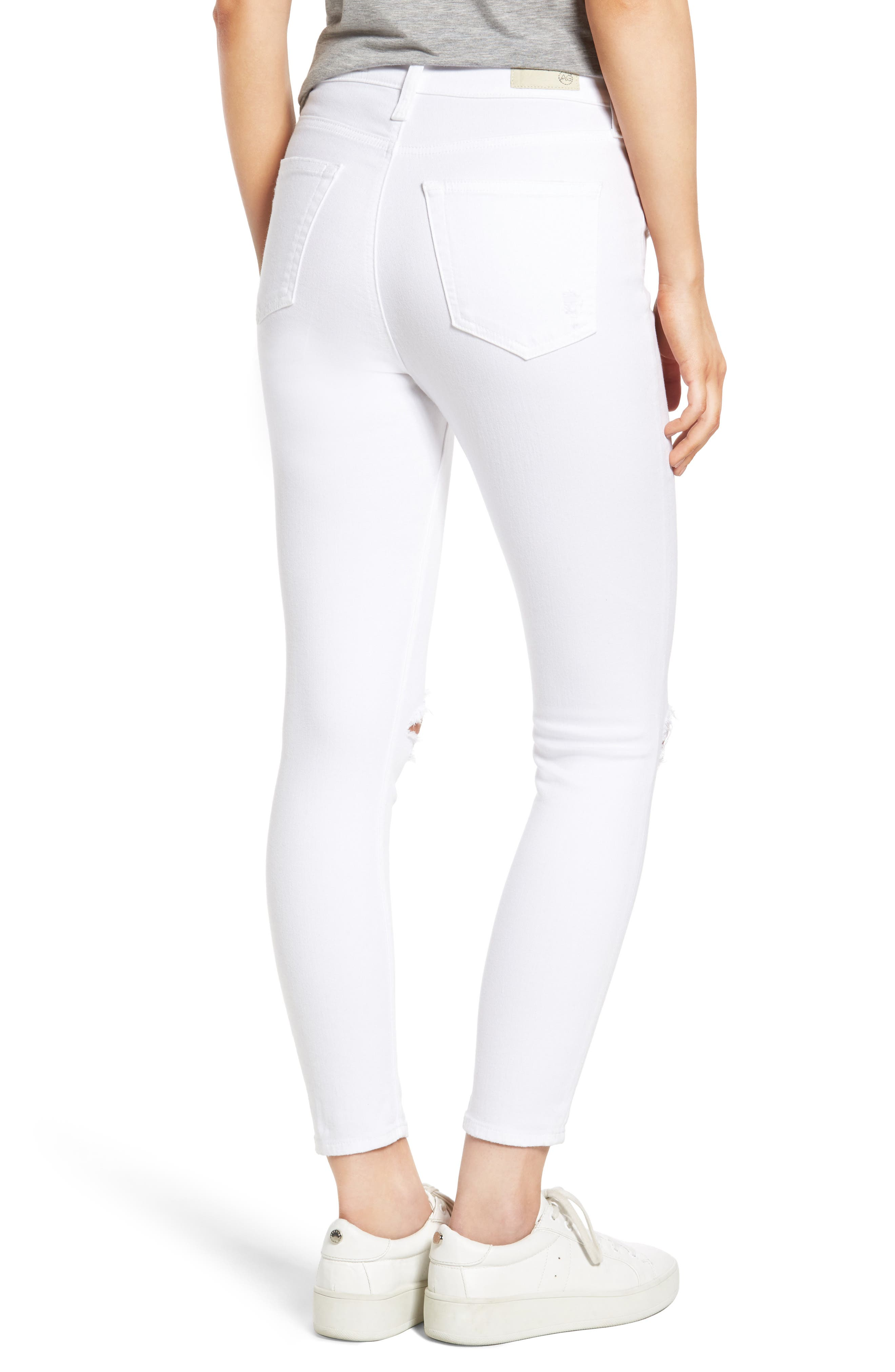 Mila Ripped High Waist Ankle Skinny Jeans,                             Alternate thumbnail 2, color,                             104