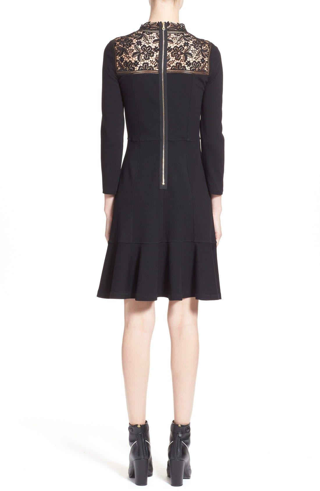 'Rieko' Lace Inset Jersey Dress,                             Alternate thumbnail 2, color,                             001