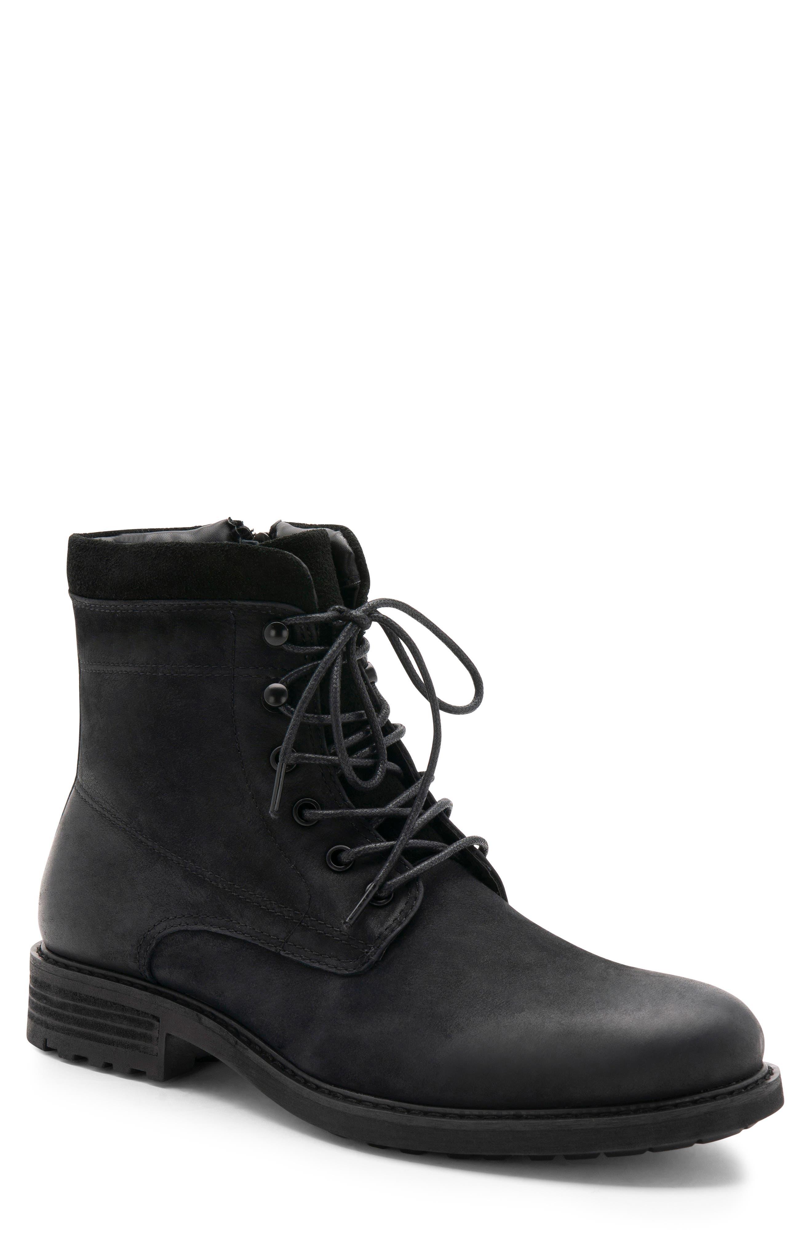 Patton Waterproof Plain Toe Boot,                         Main,                         color, BLACK NUBUCK