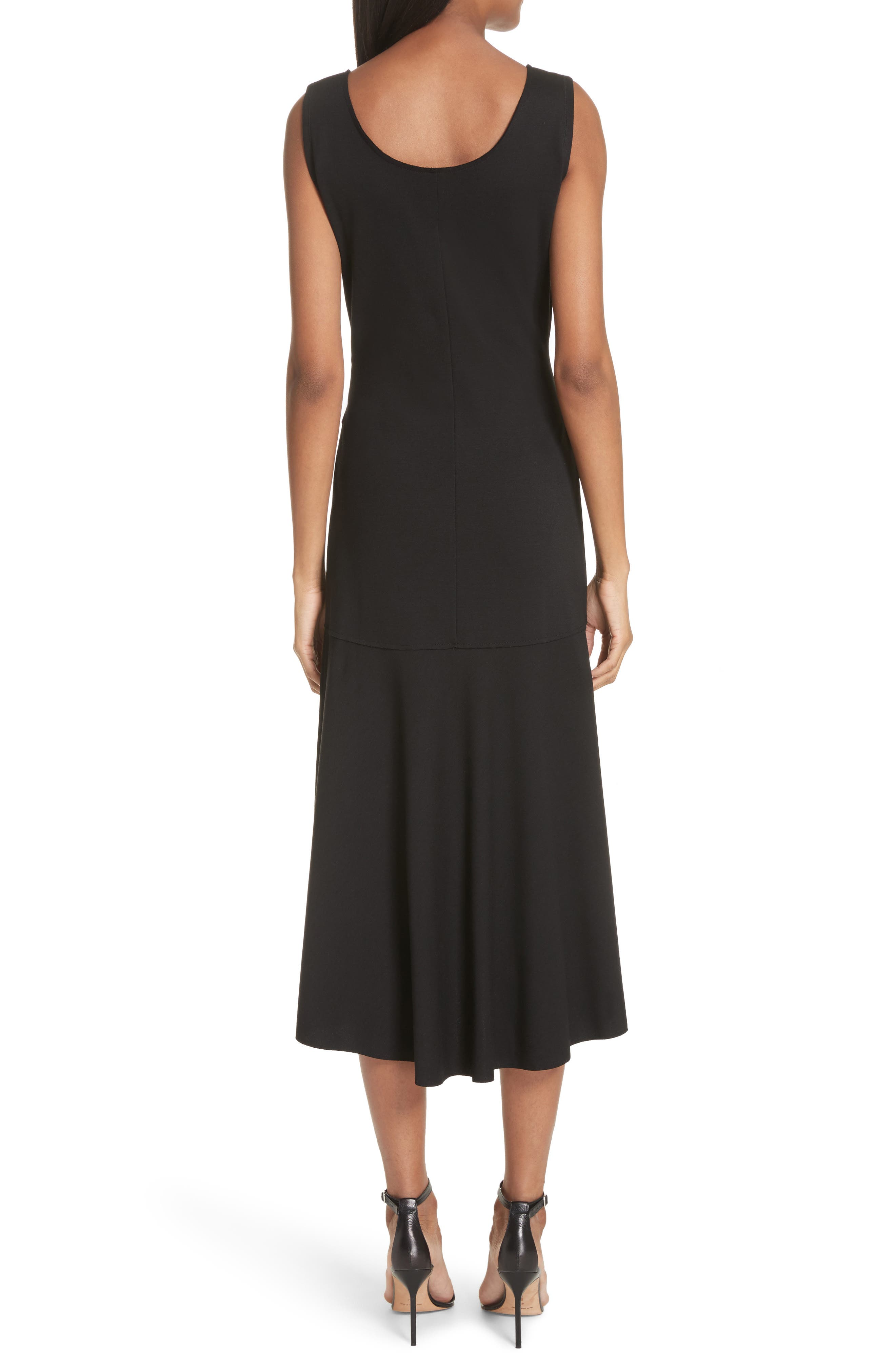 Belted Fit & Flare Midi Dress,                             Alternate thumbnail 2, color,                             NERO