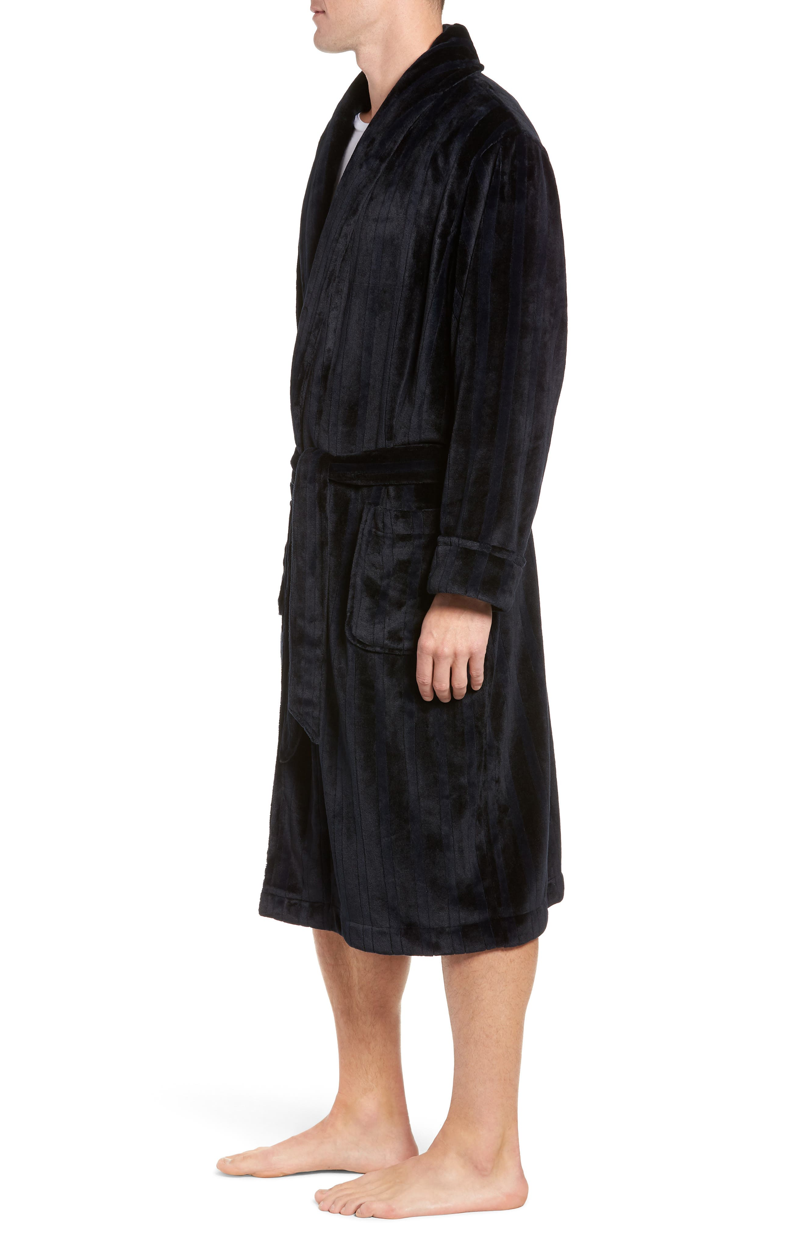 Vertical Stripe Fleece Robe,                             Alternate thumbnail 3, color,                             BLACK VERTICAL TONAL STRIPE