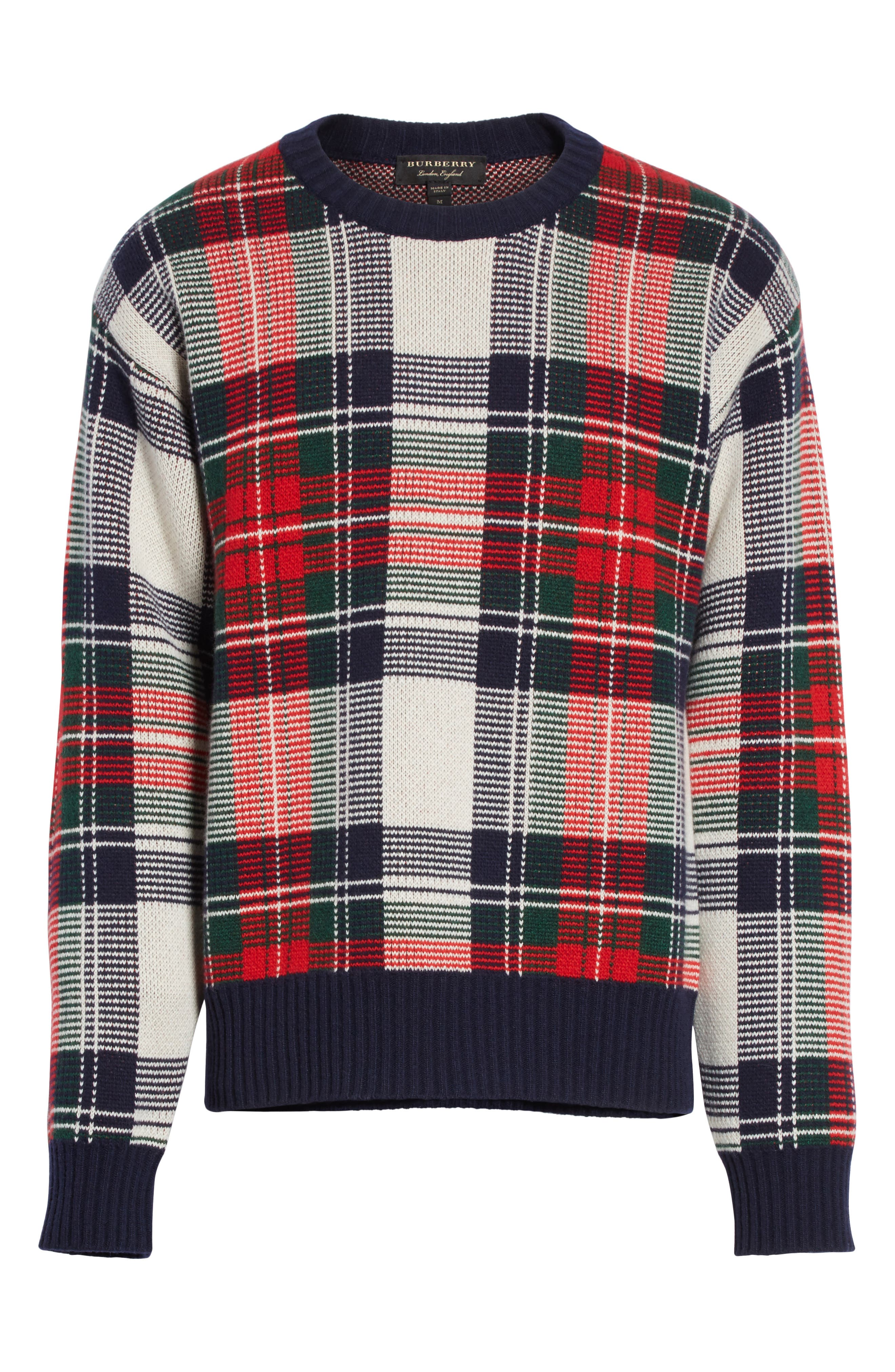 Plaid Cashmere & Wool Sweater,                             Alternate thumbnail 6, color,                             103