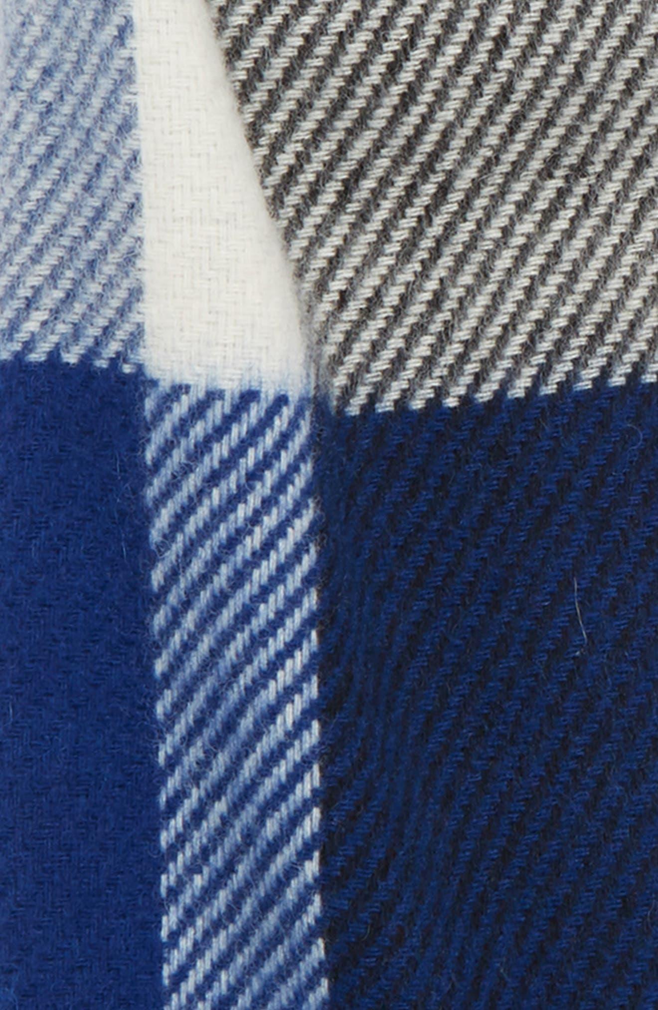 Oakwell Wool Scarf,                             Alternate thumbnail 3, color,                             BLUE/ BLACK