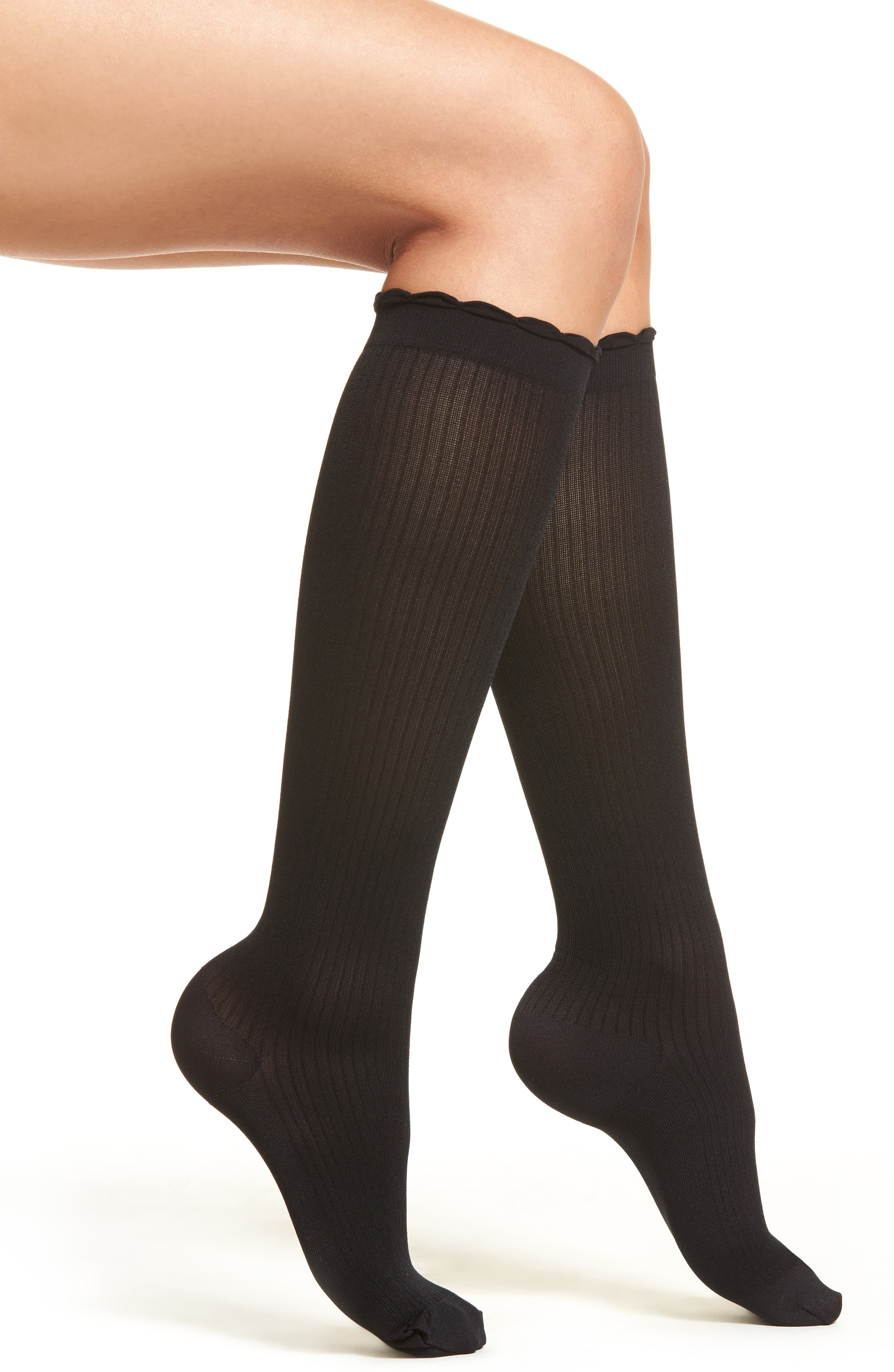 Ribbed Compression Trouser Socks,                             Main thumbnail 1, color,                             BLACK
