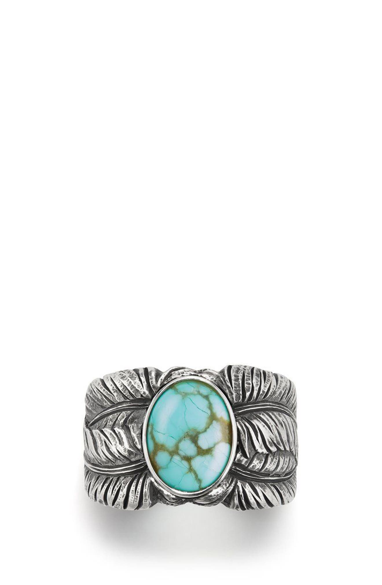 Southwest Cigar Band Feather Ring with Turquoise,                         Main,                         color, TURQUOISE