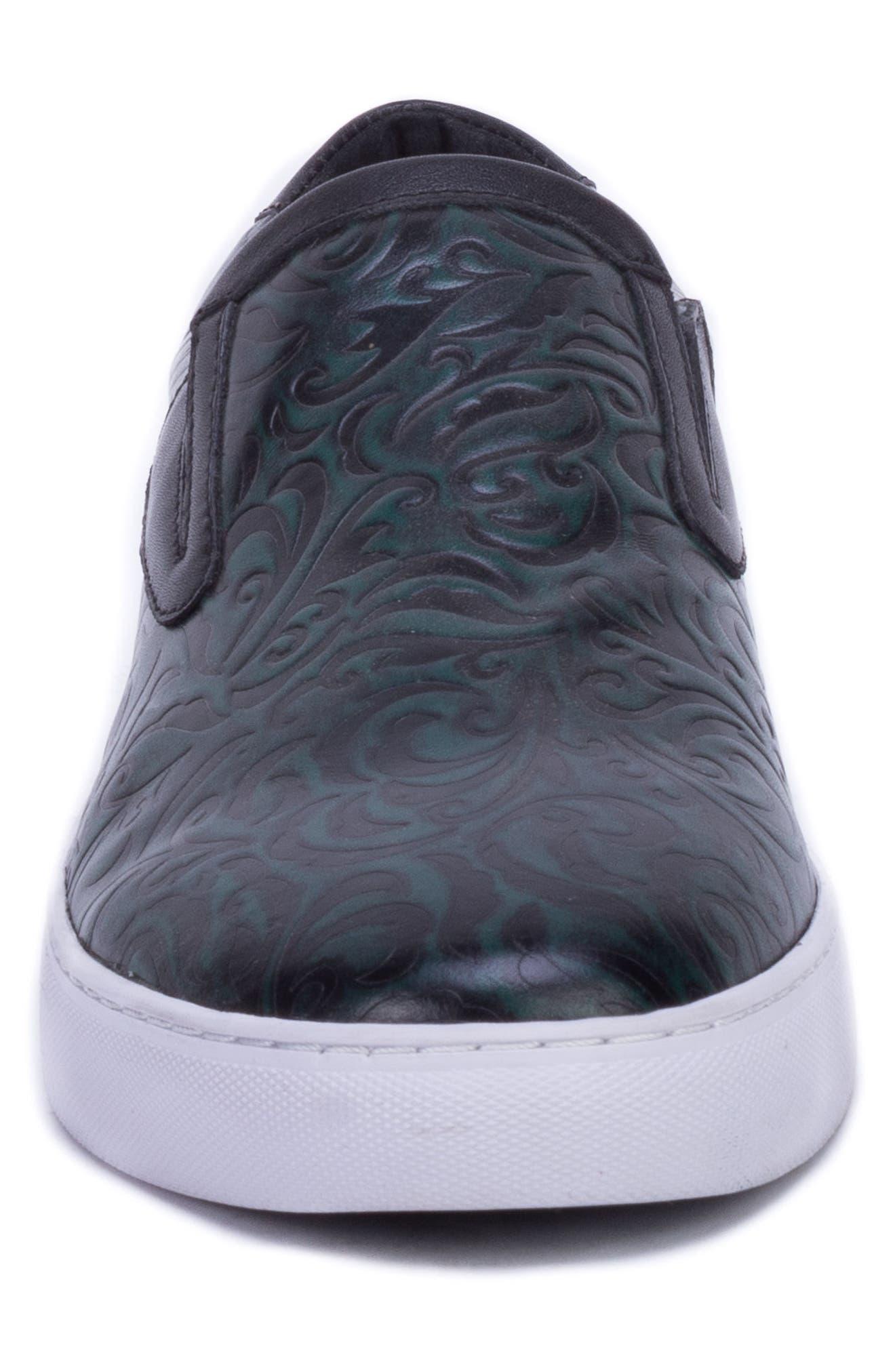 Lanning Slip-On Sneaker,                             Alternate thumbnail 4, color,                             GREEN LEATHER