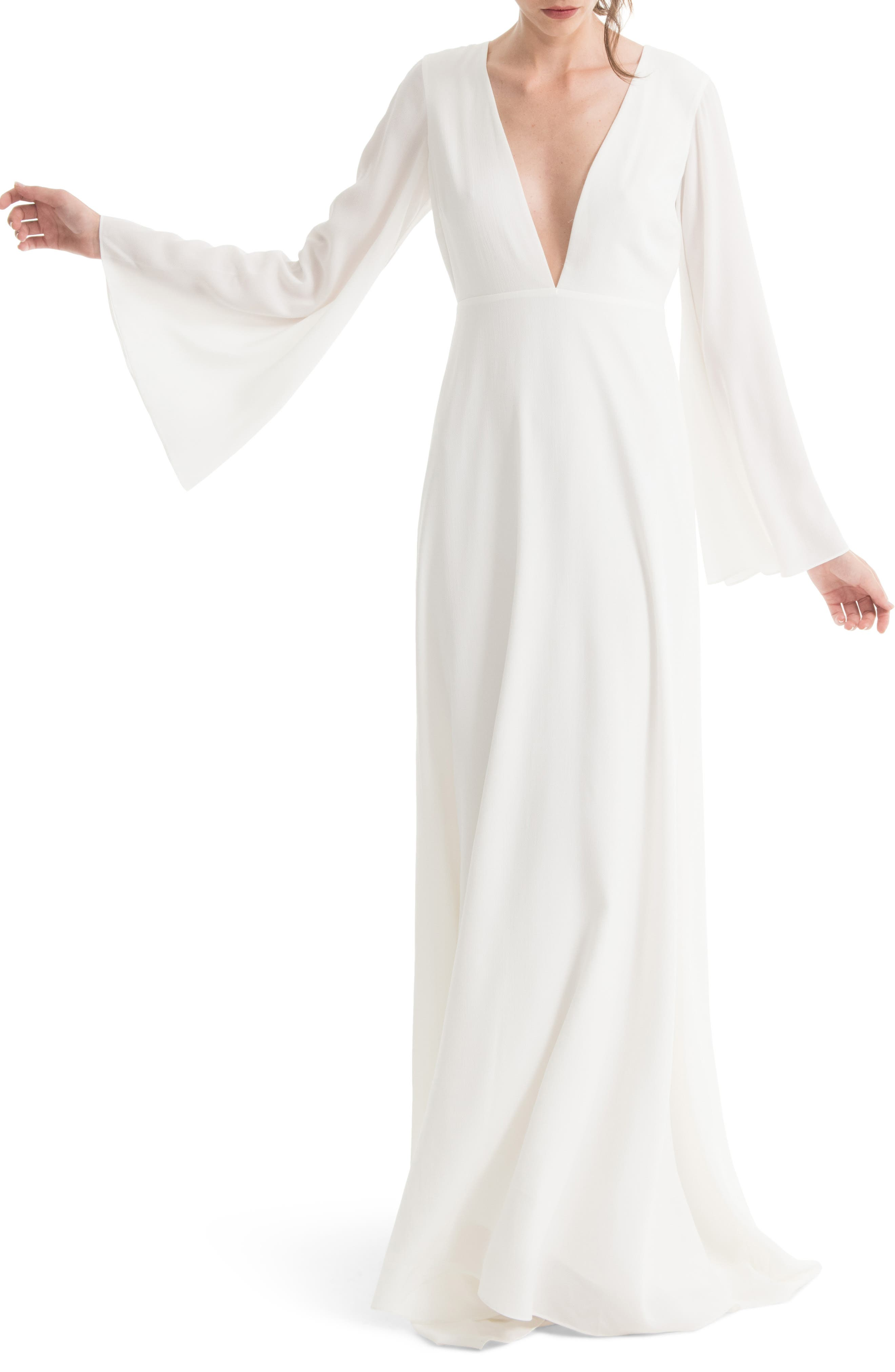 JOANNA AUGUST Stevie Bell Sleeve A-Line Gown in White