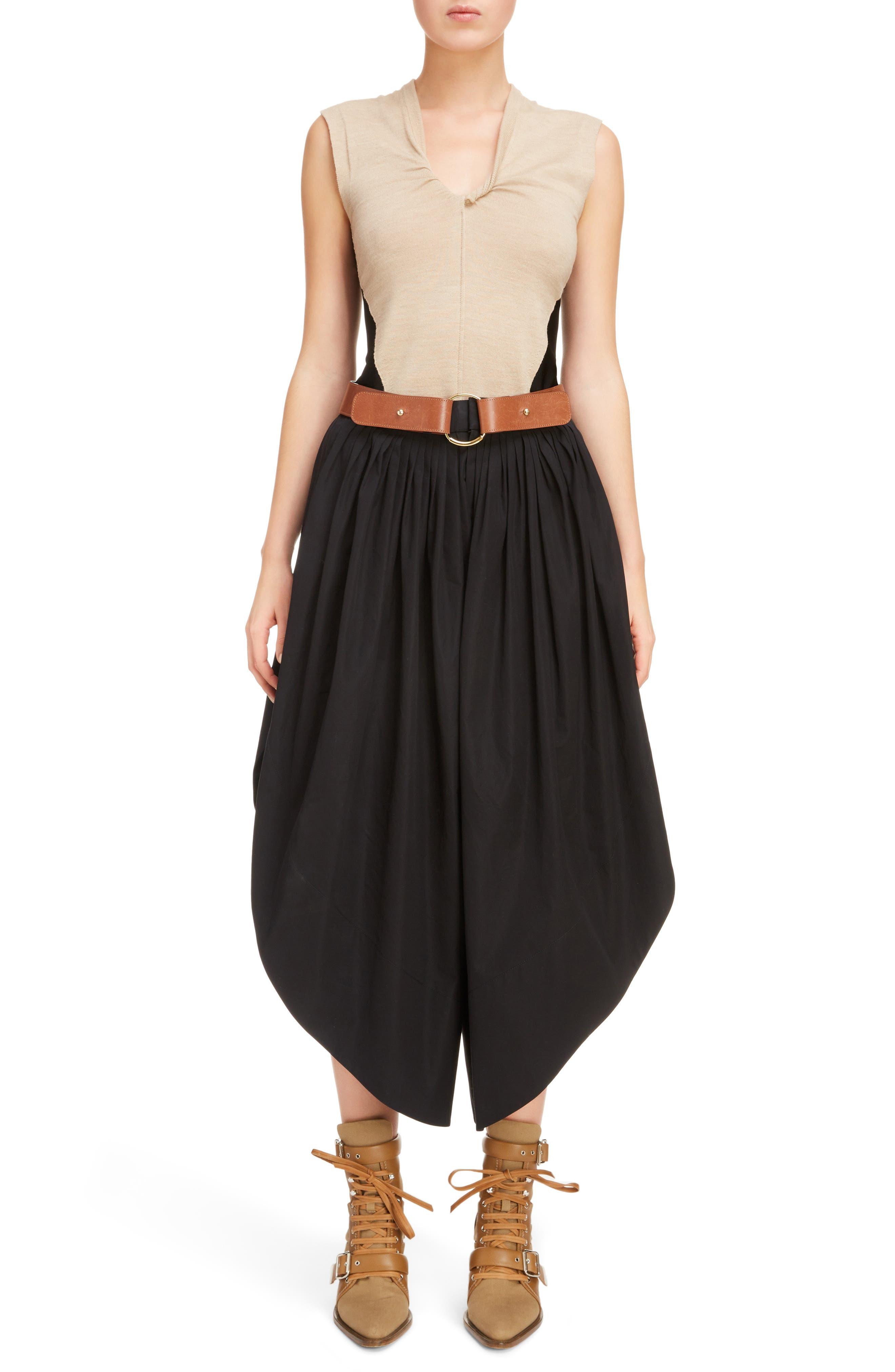 Side Slit Belted Poplin Pants,                             Alternate thumbnail 6, color,                             BLACK