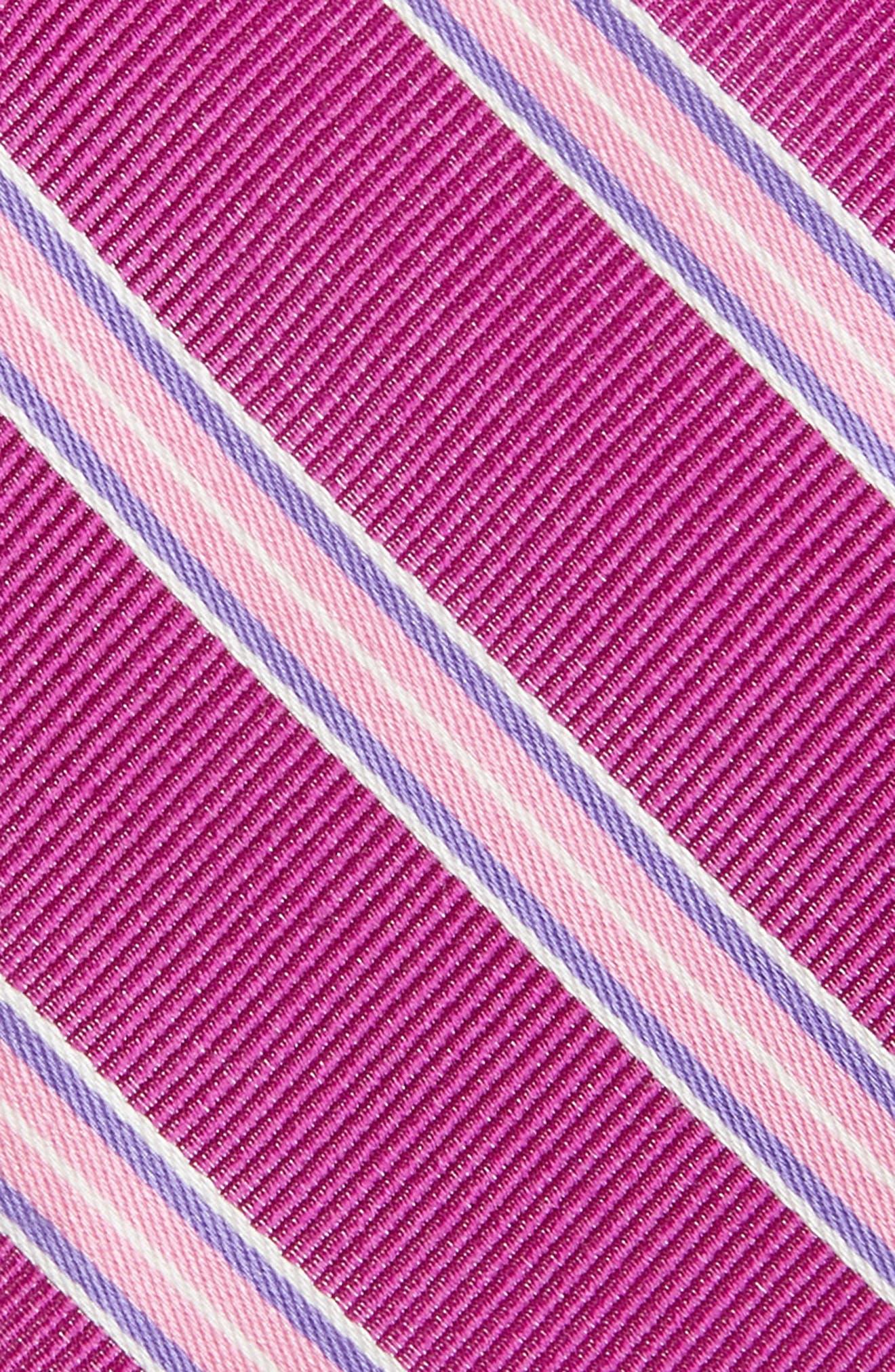 Chester Stripe Silk Tie,                             Alternate thumbnail 2, color,                             BERRY