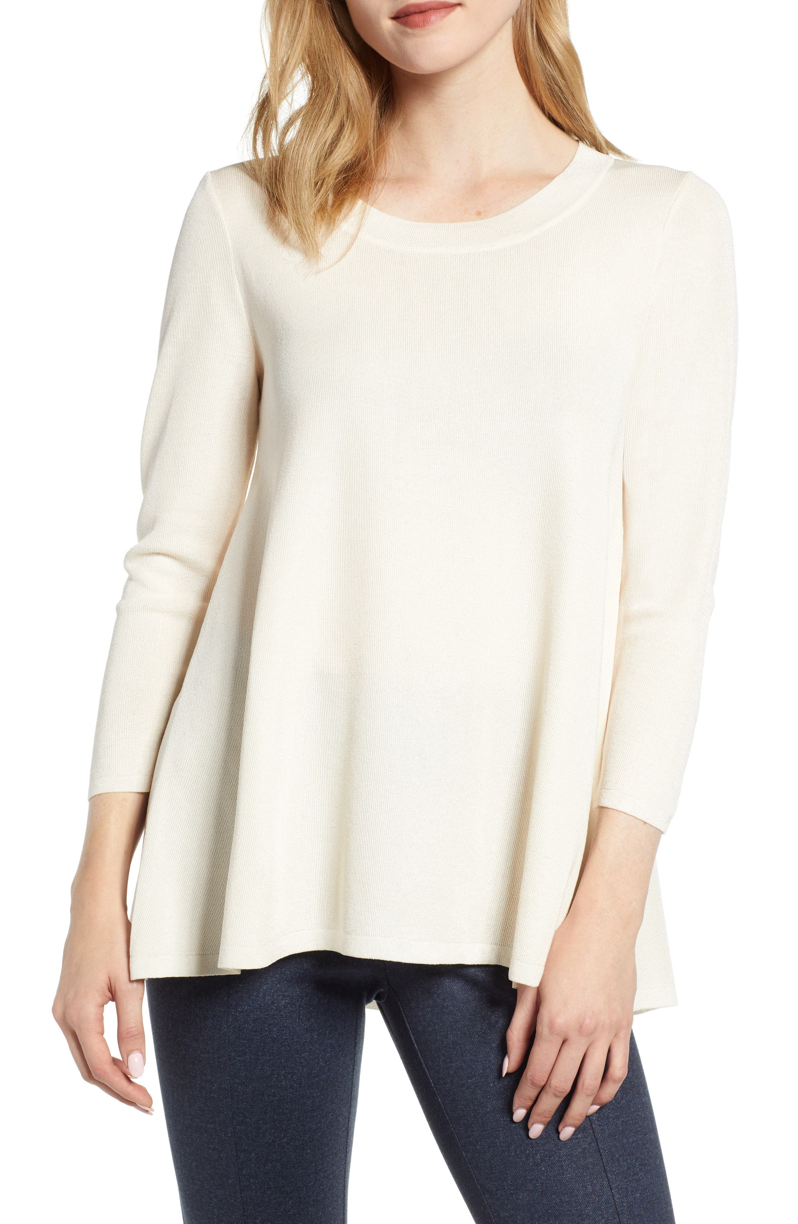 ANNE KLEIN Scoop Neck Knit Top in Anne White