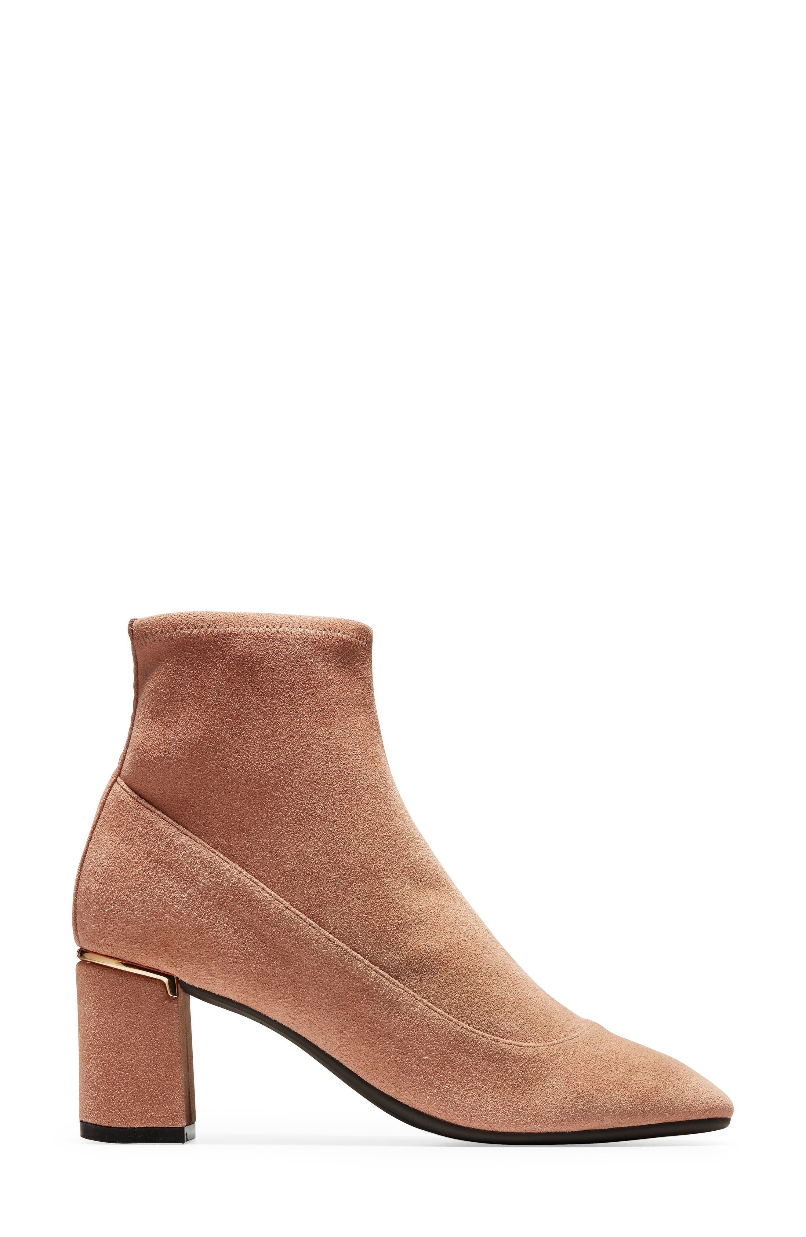 Laree Stretch Bootie,                             Alternate thumbnail 3, color,                             MOCHA STRETCH SUEDE