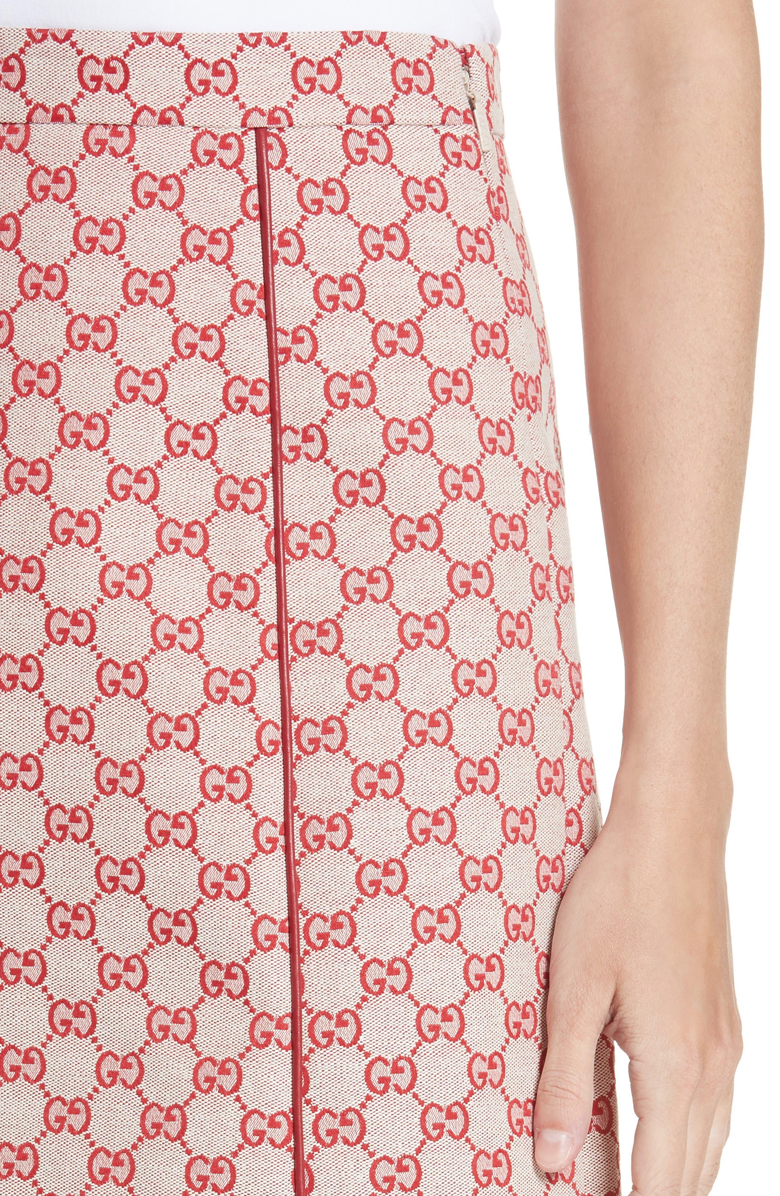 GG Print Canvas A-Line Skirt,                             Alternate thumbnail 4, color,                             GARDENIA/ HIBISCUS RED