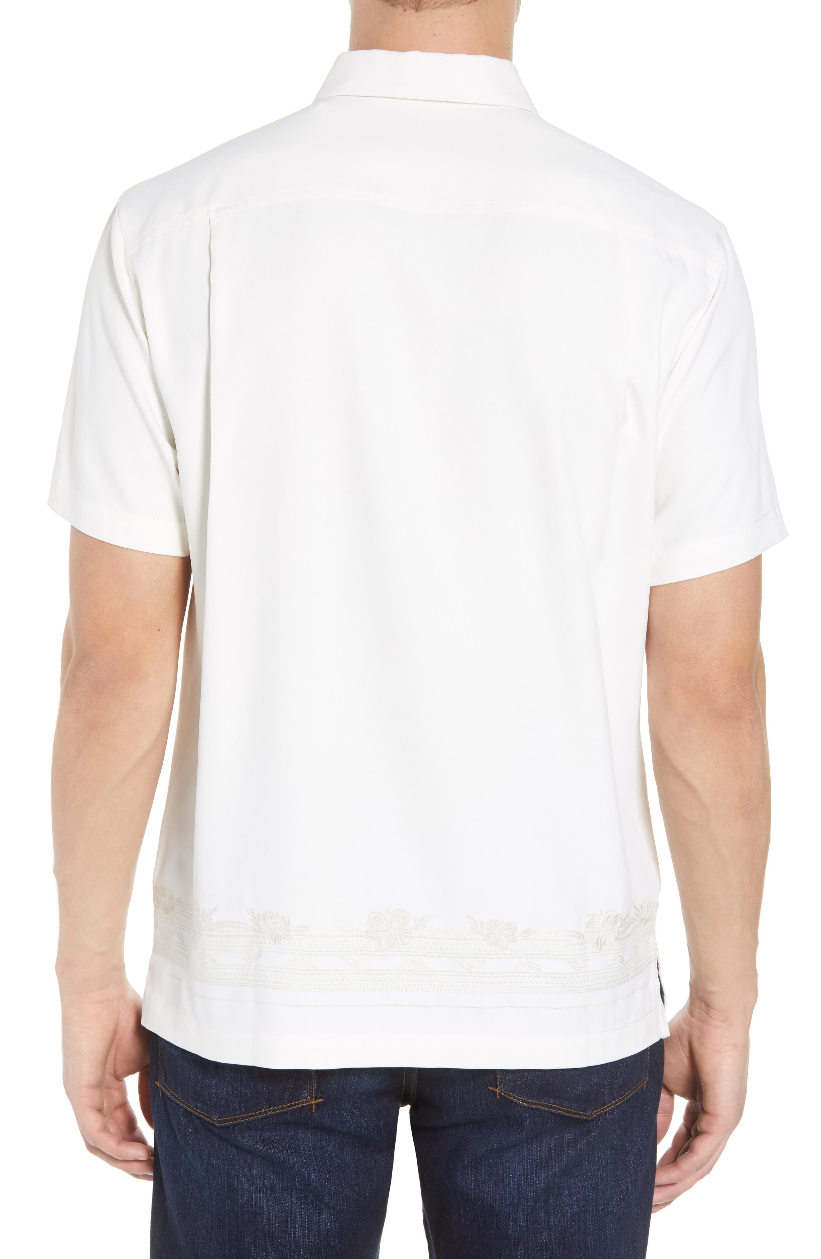 Cambio Tiles Silk Camp Shirt,                             Alternate thumbnail 4, color,