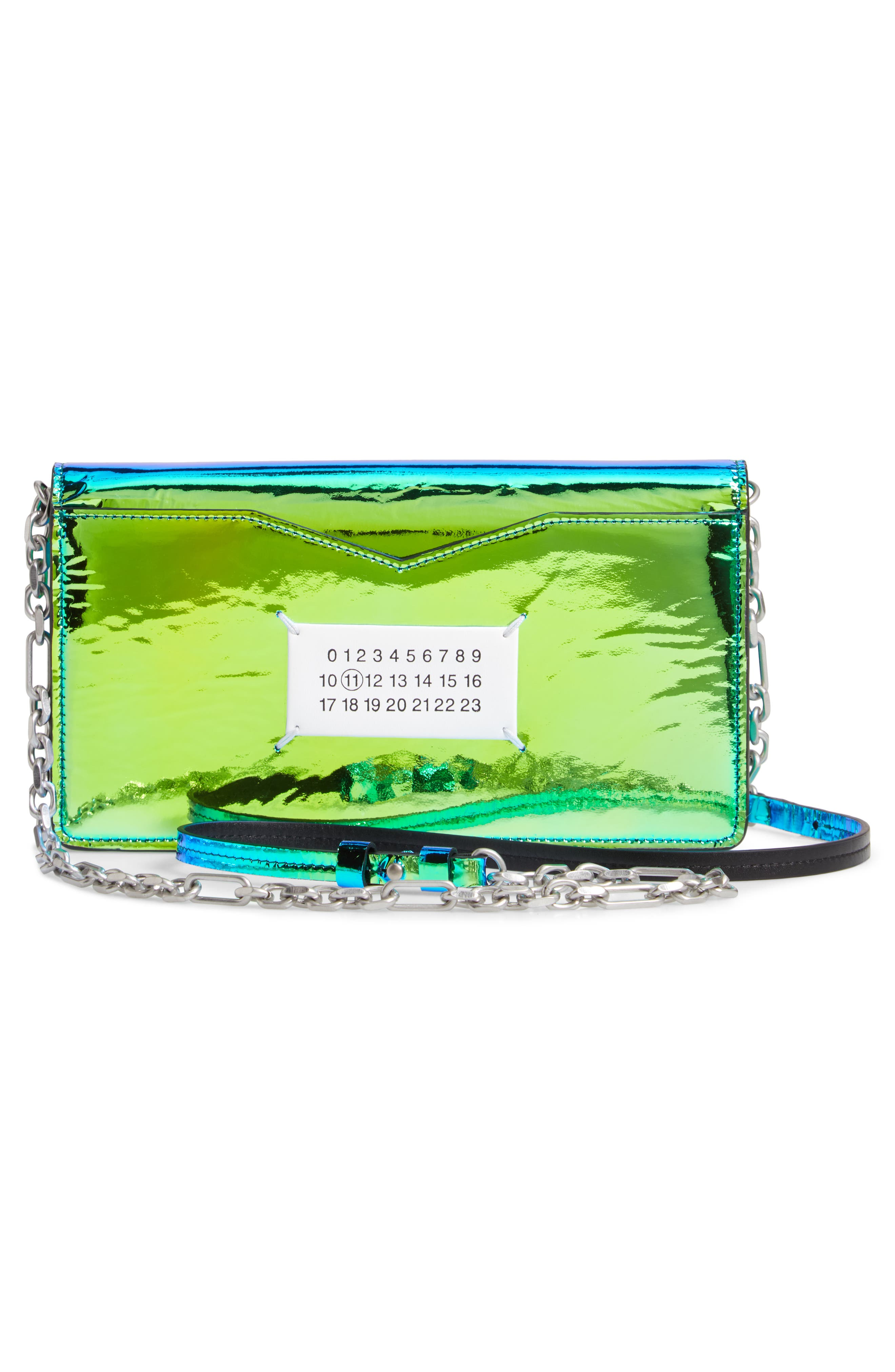 Iridescent Faux Leather Wallet on a Chain,                             Alternate thumbnail 3, color,                             IRRIDISCENT BLUE/ GREEN