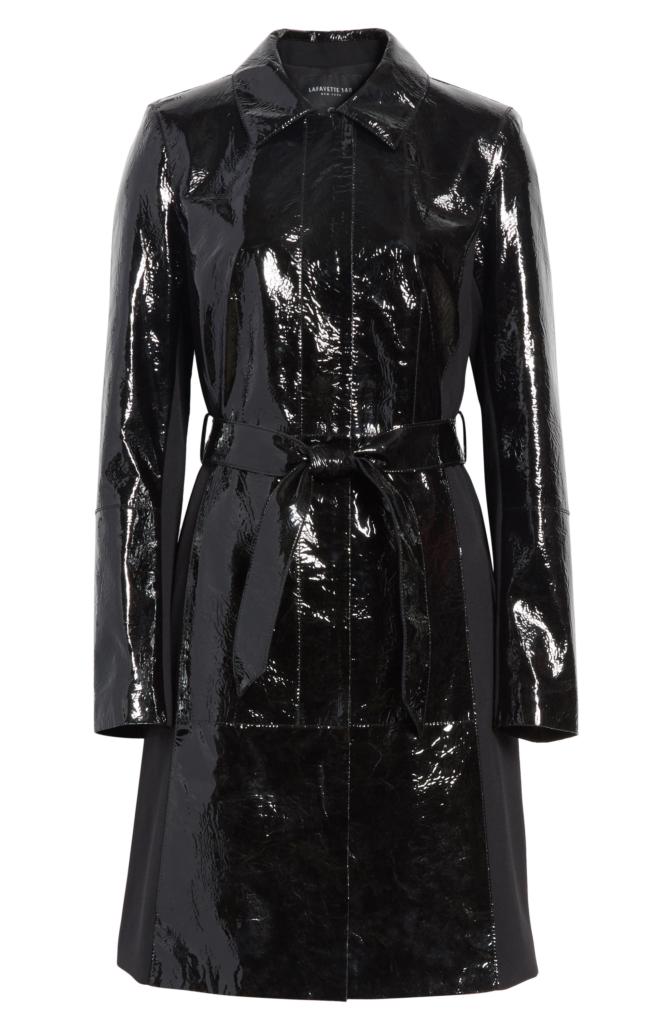 Paola Tech Combo Patent Leather Trench Coat,                             Alternate thumbnail 5, color,