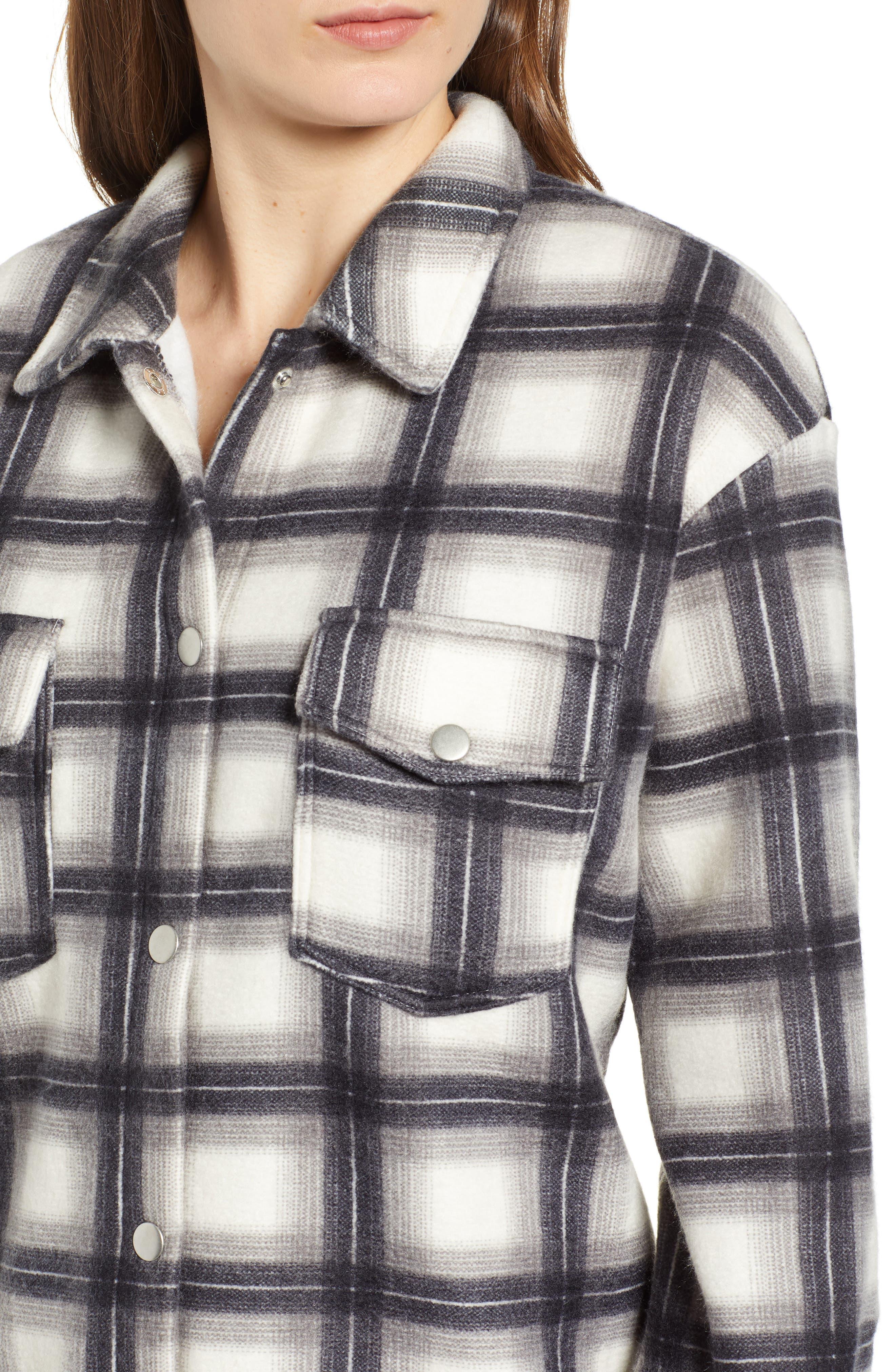 Plaid Shirt Jacket,                             Alternate thumbnail 4, color,                             GREY