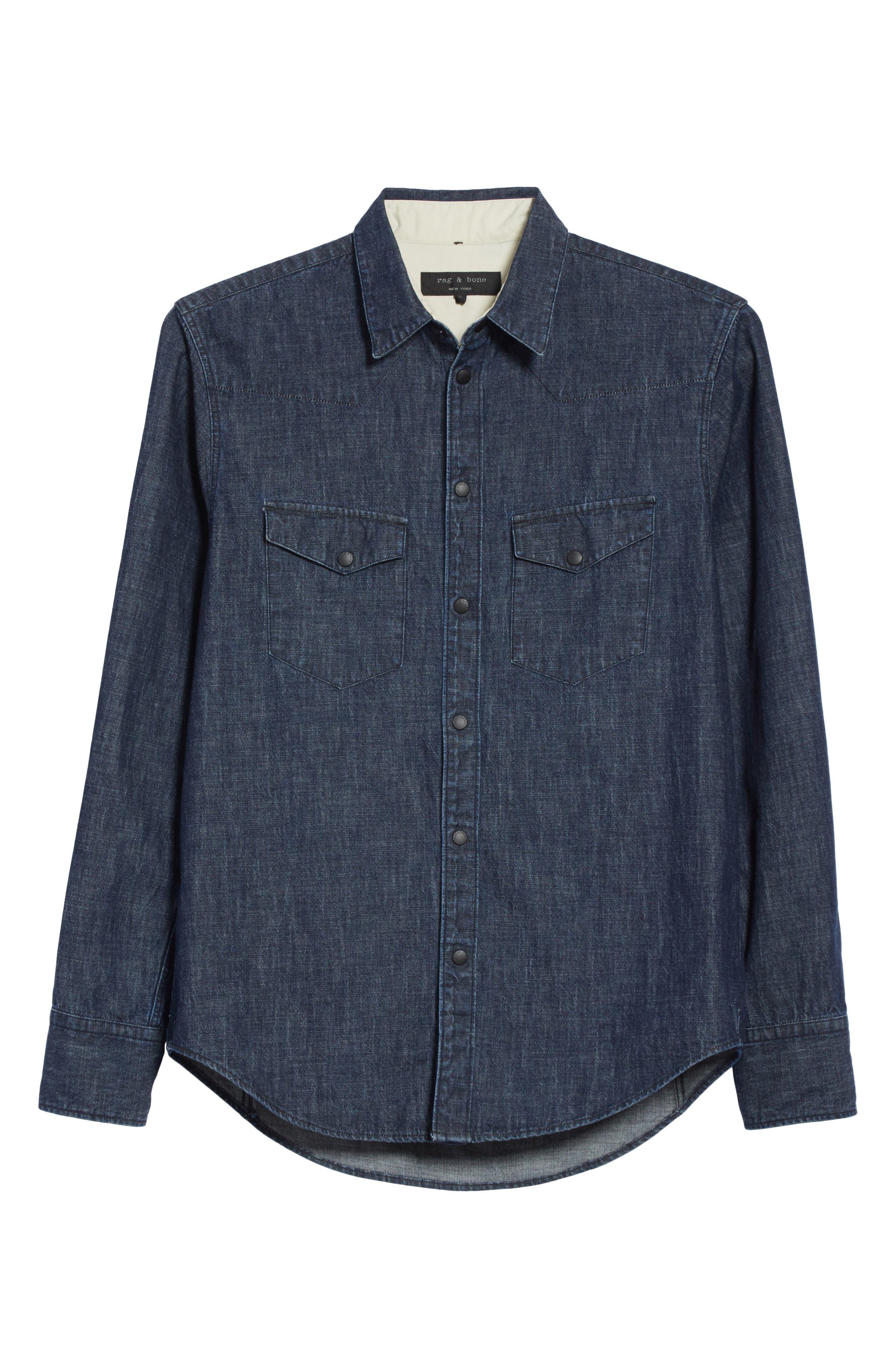 Beck Denim Shirt,                             Alternate thumbnail 6, color,                             470
