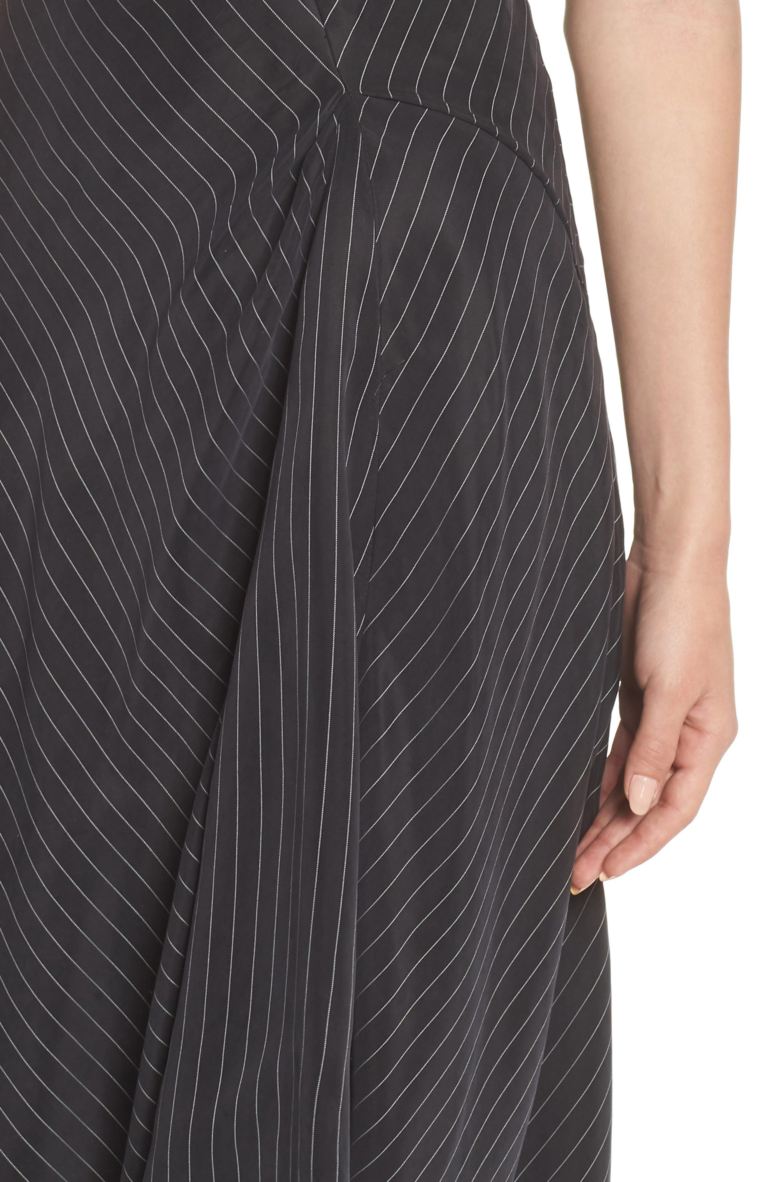Bay Area Sleeveless Pinstripe Midi Dress,                             Alternate thumbnail 4, color,                             001
