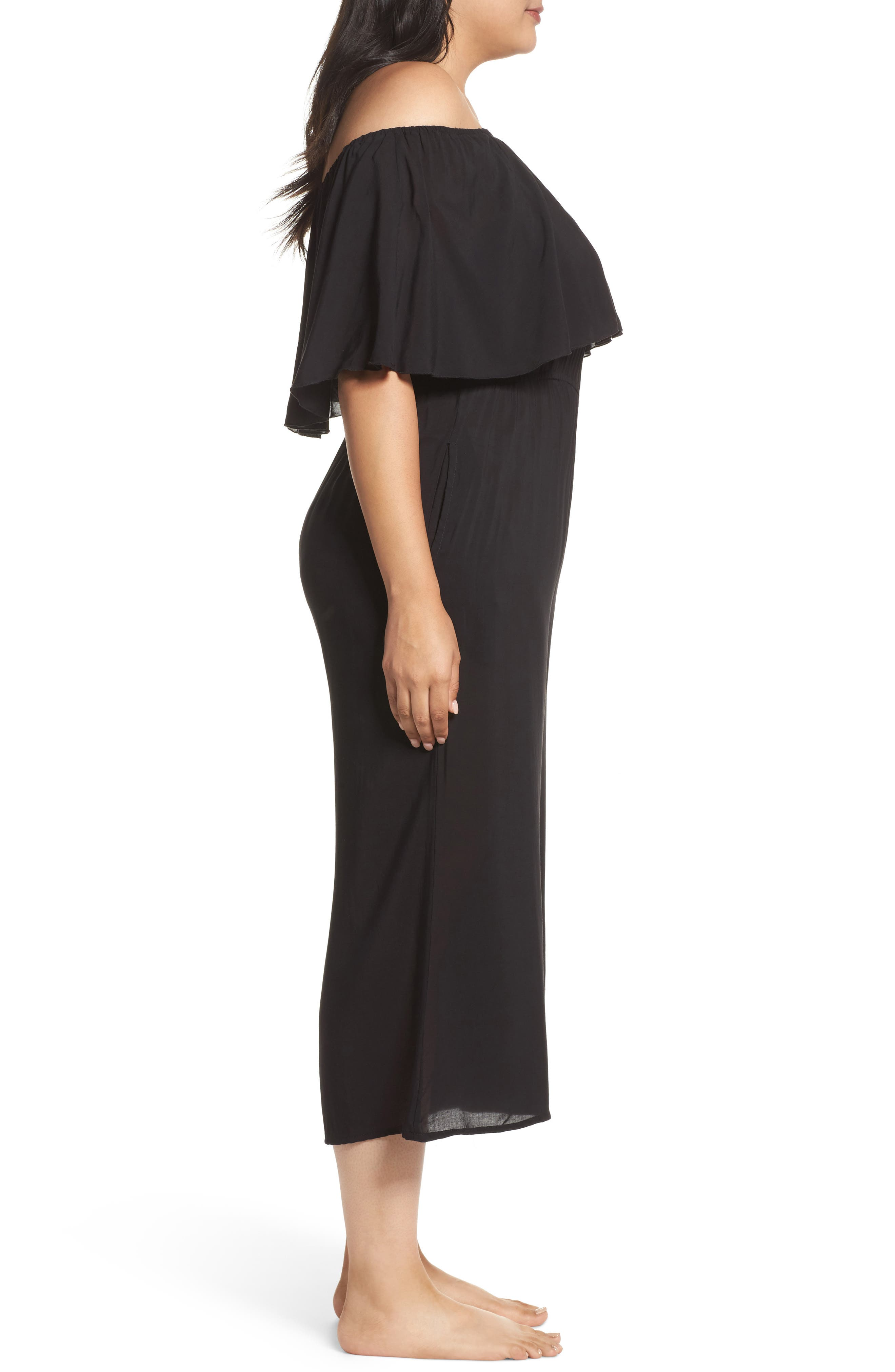 Off the Shoulder Cover-Up Jumpsuit,                             Alternate thumbnail 3, color,