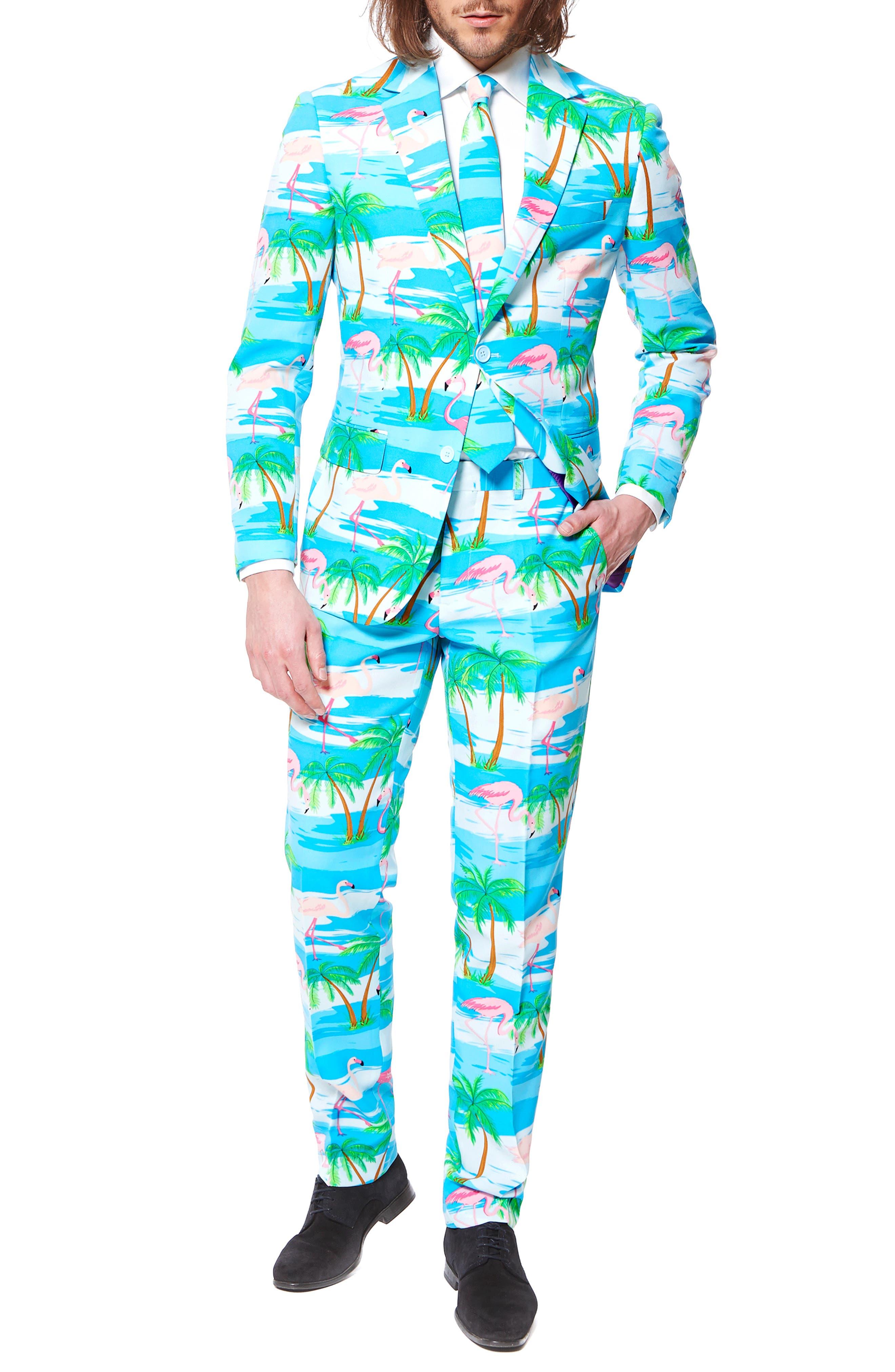 'Flaminguy' Trim Fit Two-Piece Suit with Tie,                             Alternate thumbnail 4, color,                             400