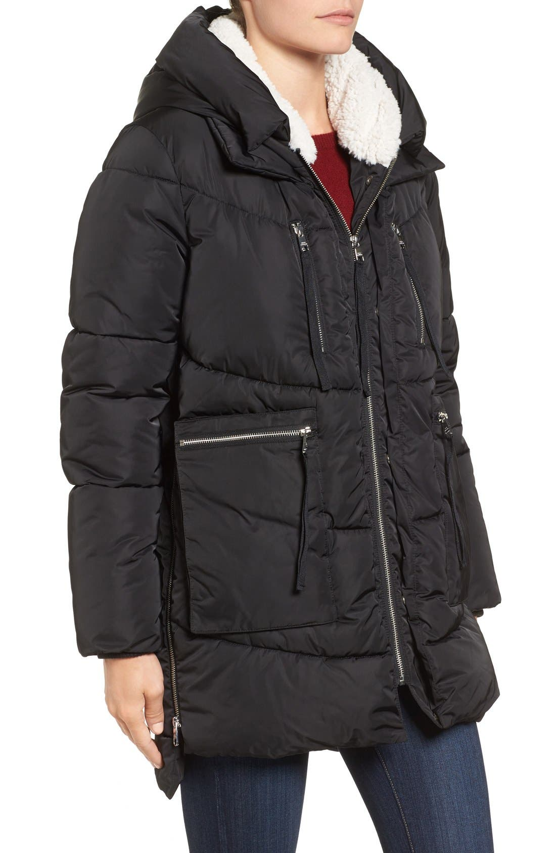 Hooded Puffer Jacket with Faux Shearling Trim,                             Alternate thumbnail 11, color,