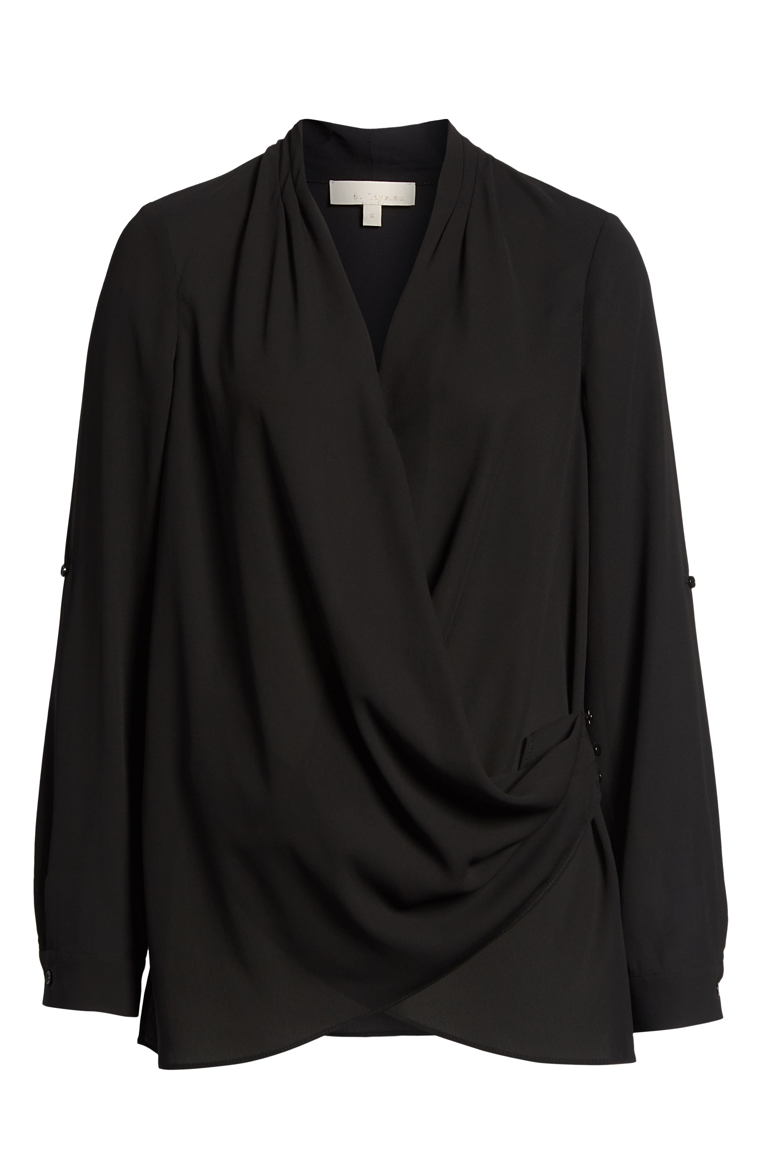 Side Drape Blouse,                             Alternate thumbnail 6, color,                             BLACK
