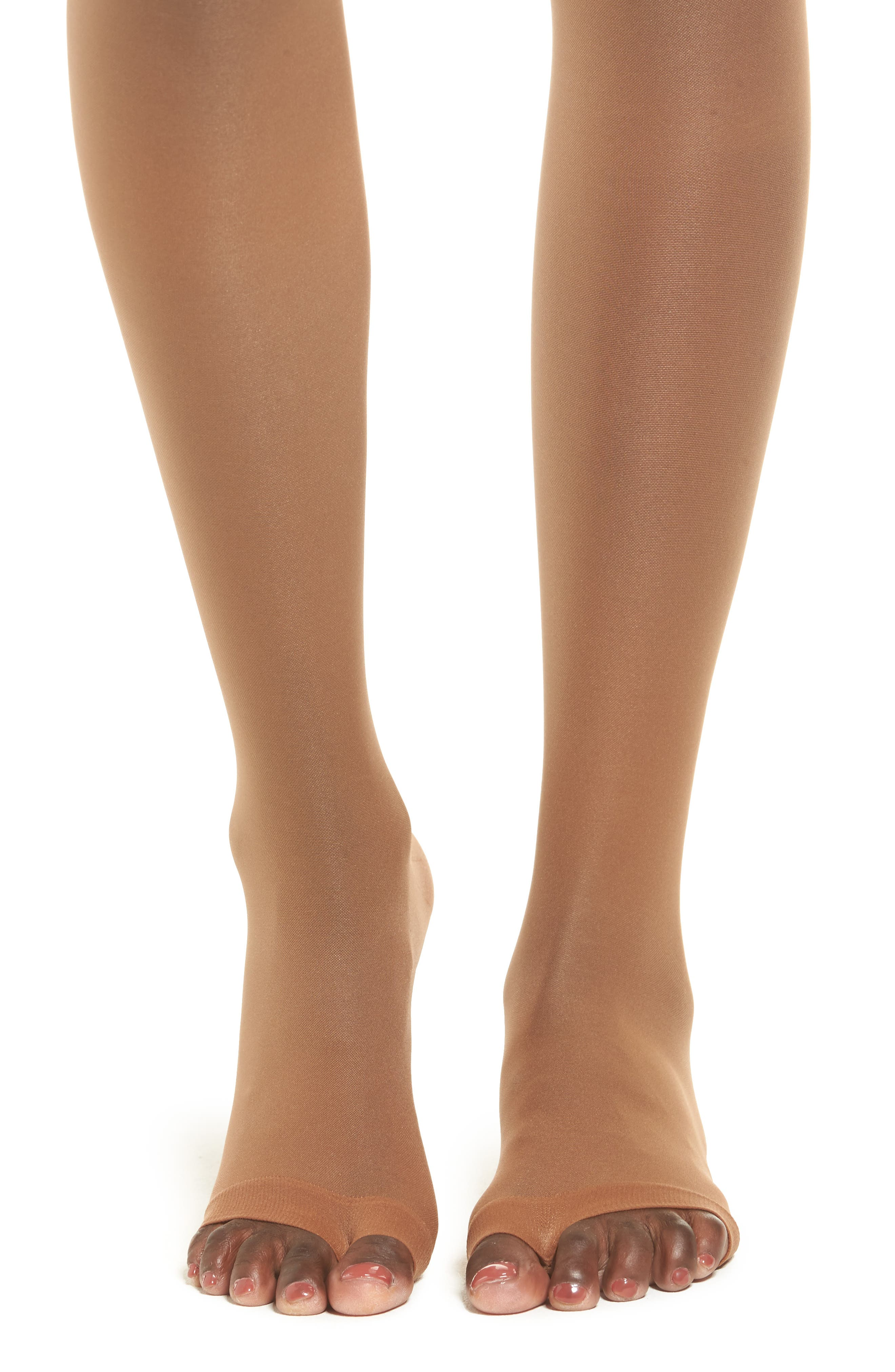 Invisible Open Toe Tights,                             Alternate thumbnail 2, color,                             BRONZE