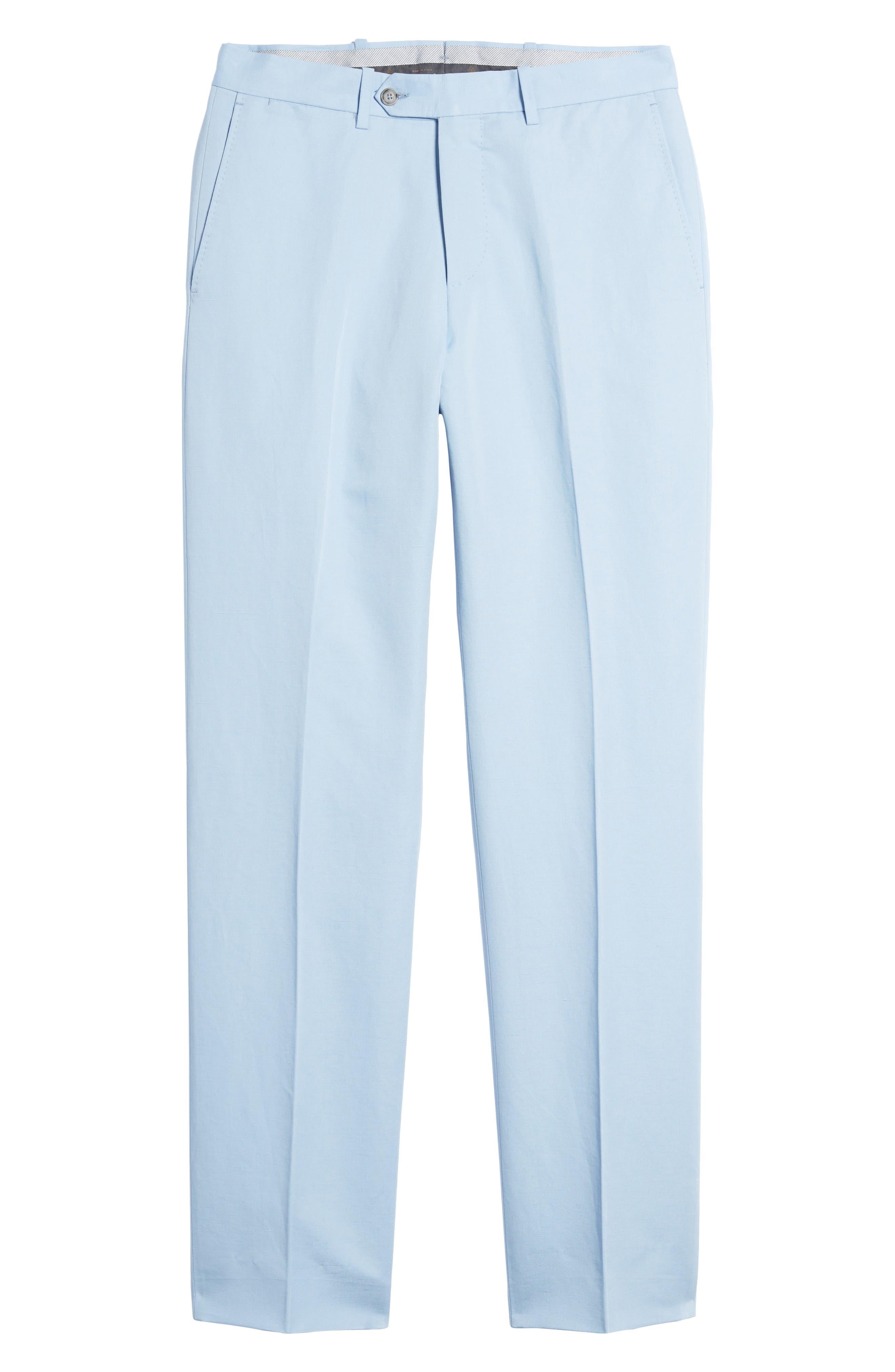 Flat Front Solid Cotton & Linen Trousers,                             Alternate thumbnail 23, color,
