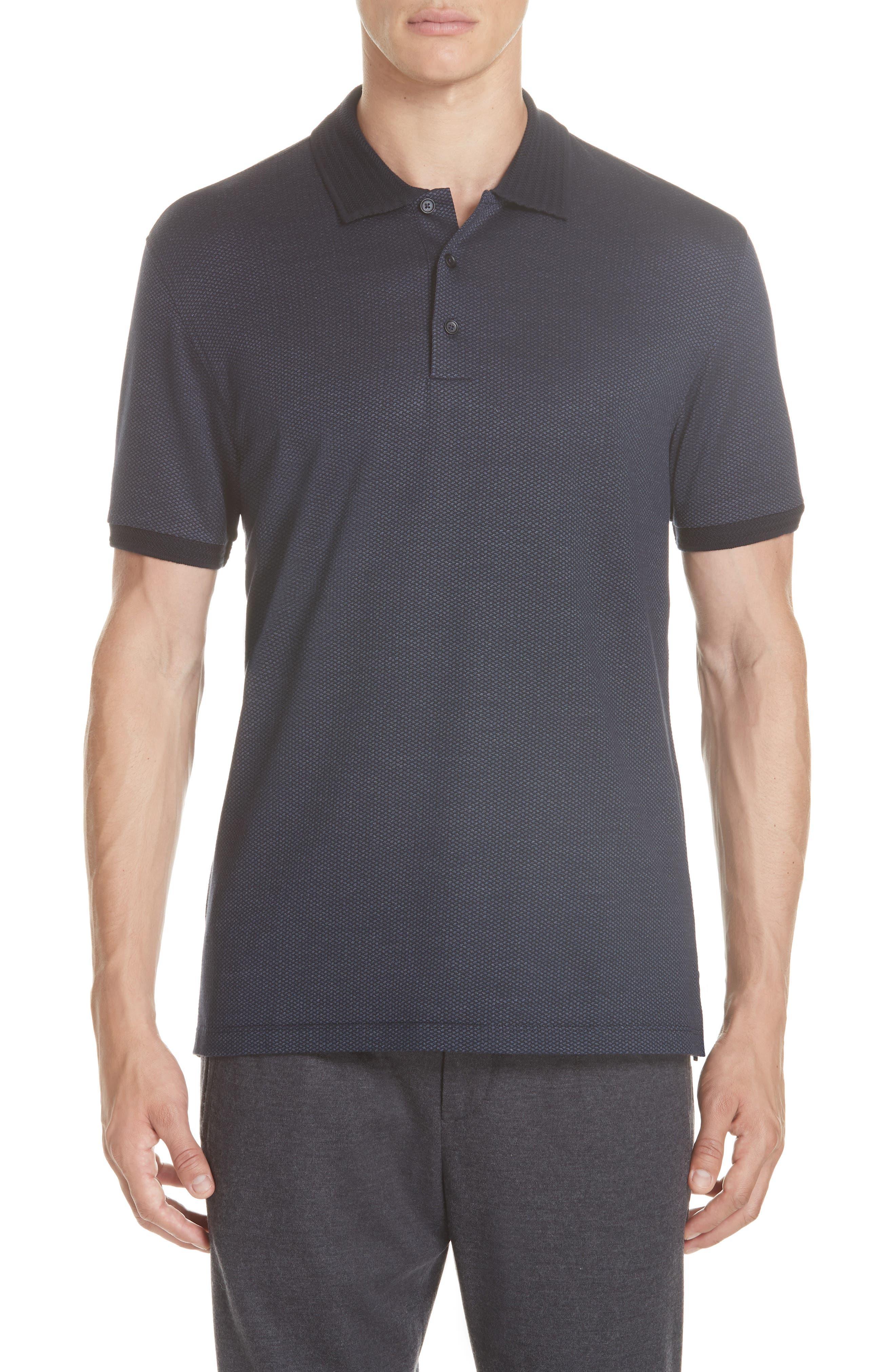 Cotton & Silk Polo Shirt,                         Main,                         color, NAVY