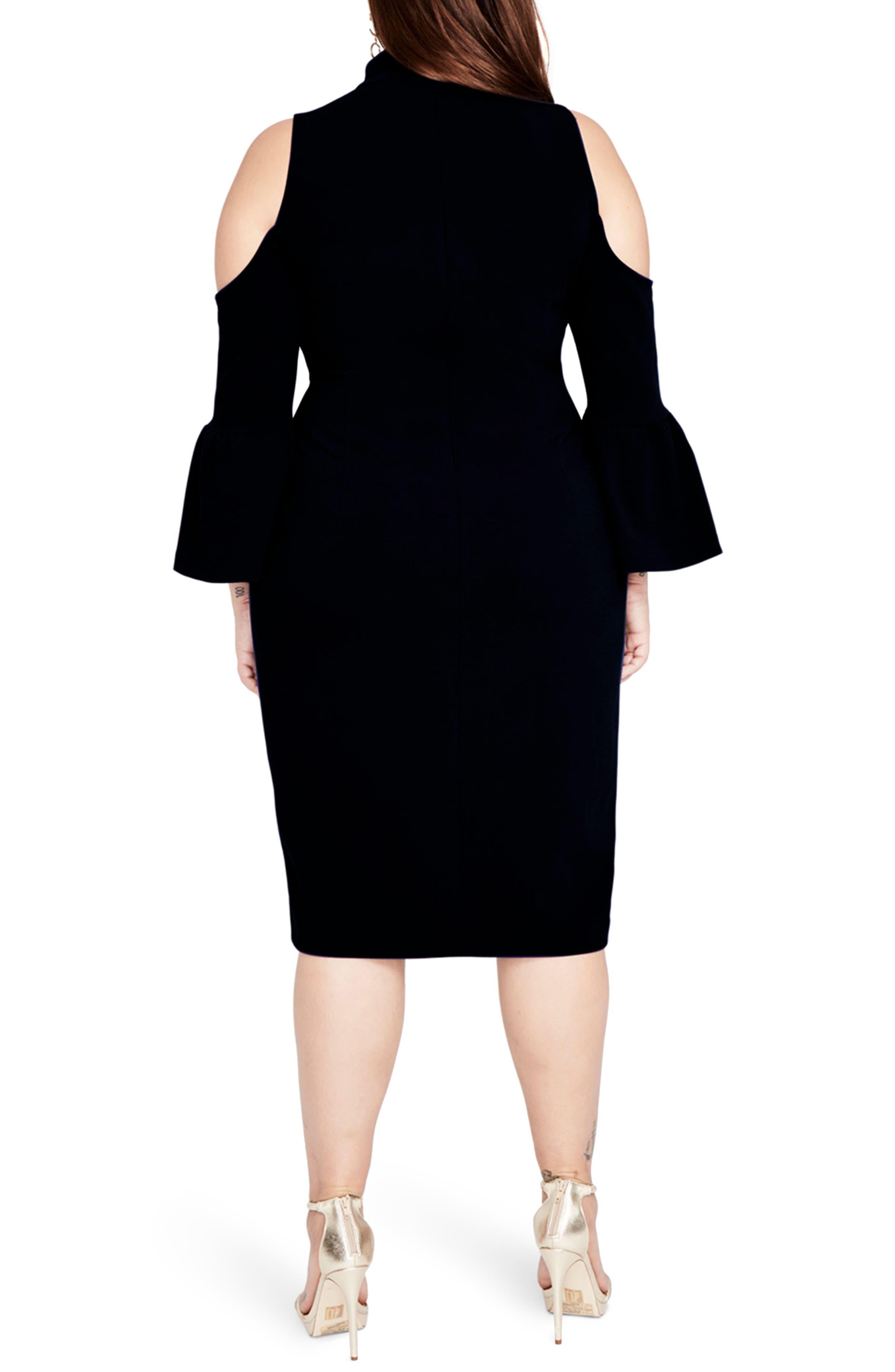 Cold Shoulder Choker Neck Dress,                             Alternate thumbnail 2, color,                             001